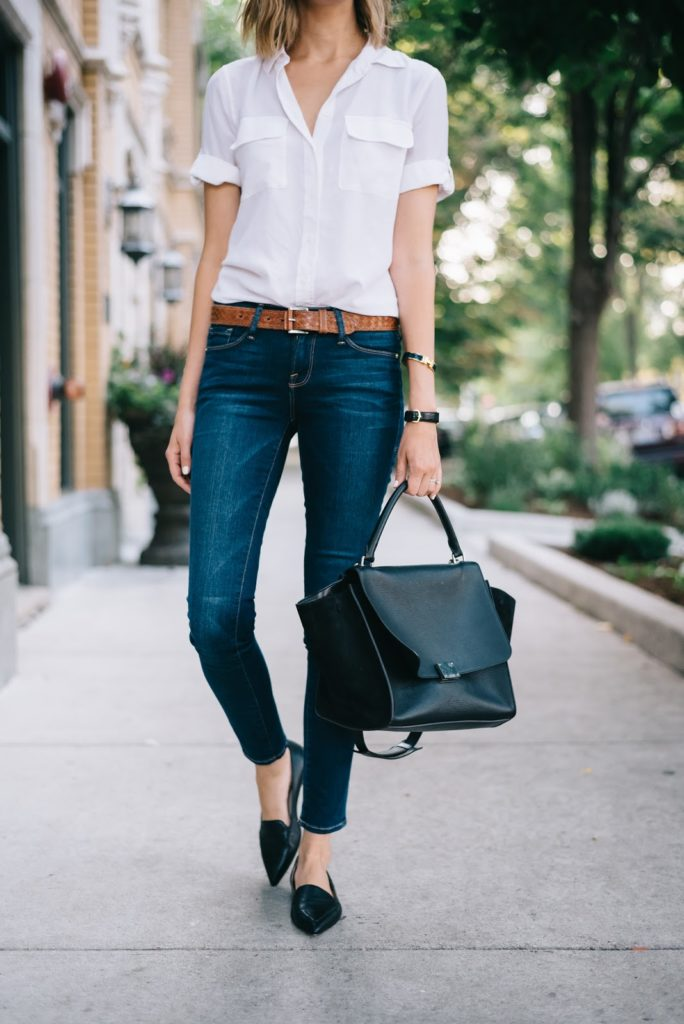 black pointy flats, denim, and white blouse