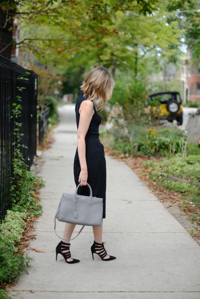 black pencil skirt and sleevless turtleneck