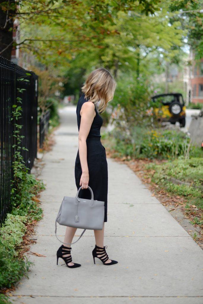 black pencil skirt and sleevless turtleneck