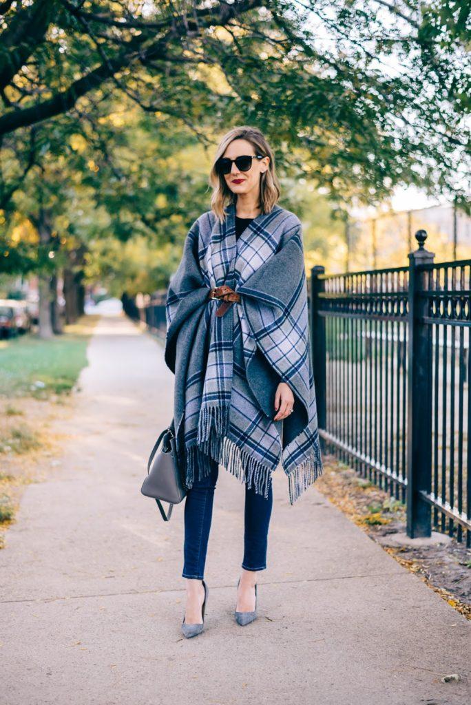 fall poncho outfit