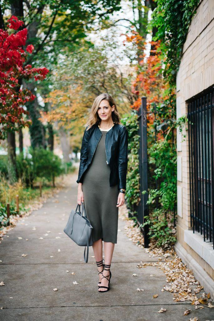 leather jacket olive dress