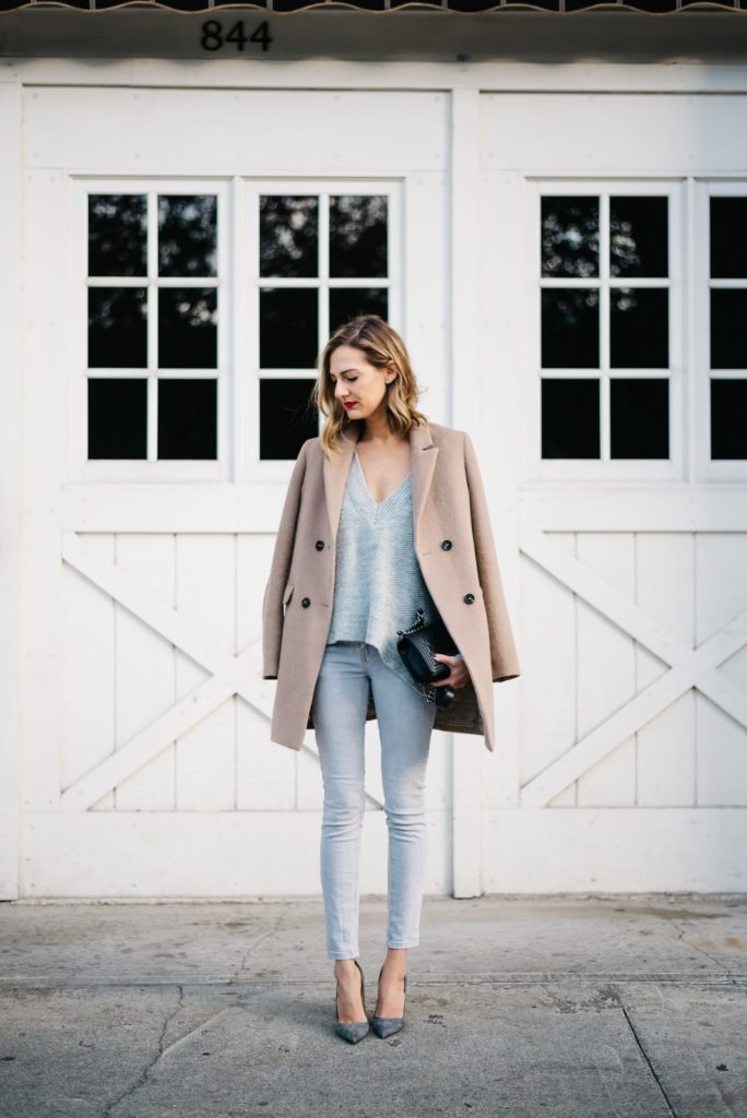 grey and camel outfit