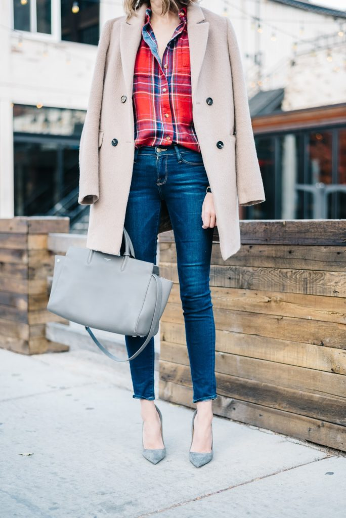 plaid shirt and jeans dressed up