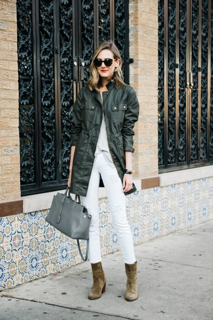 white jeans with army jacket