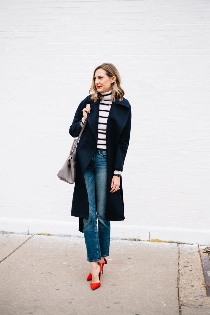 navy trench stripes red
