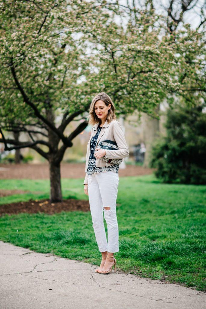df24f10025 ... Paige Denim leather jacket (shop Paige jackets HERE), BDG jeans  (similar), Stuart Weitzman heels (shop SW sandals HERE), vintage Gucci bag