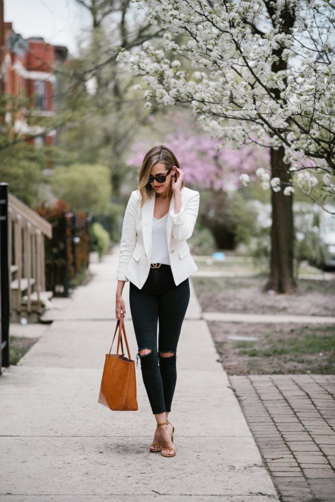 white and black outfit blazer