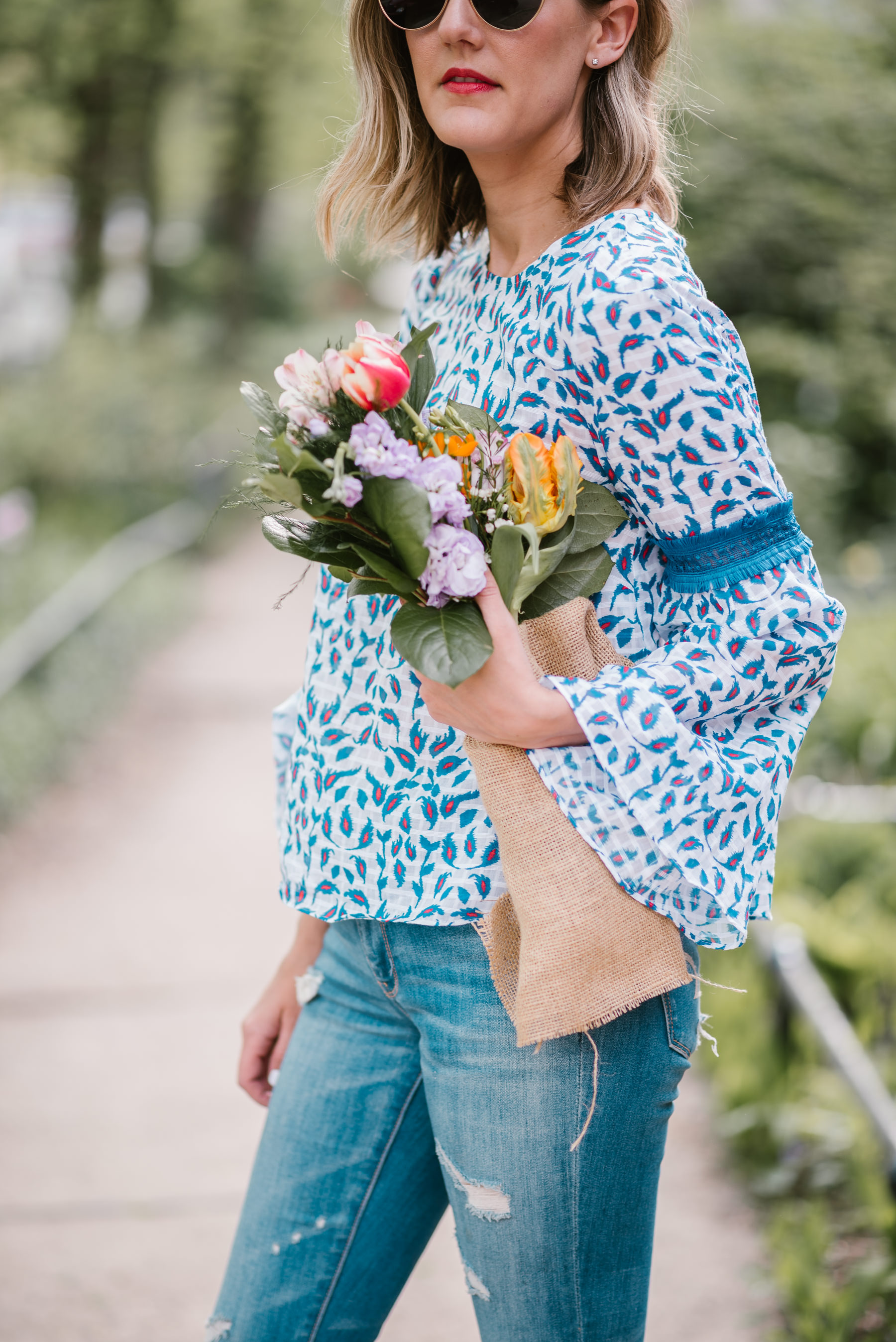 floral bell sleeve tops tanya taylor