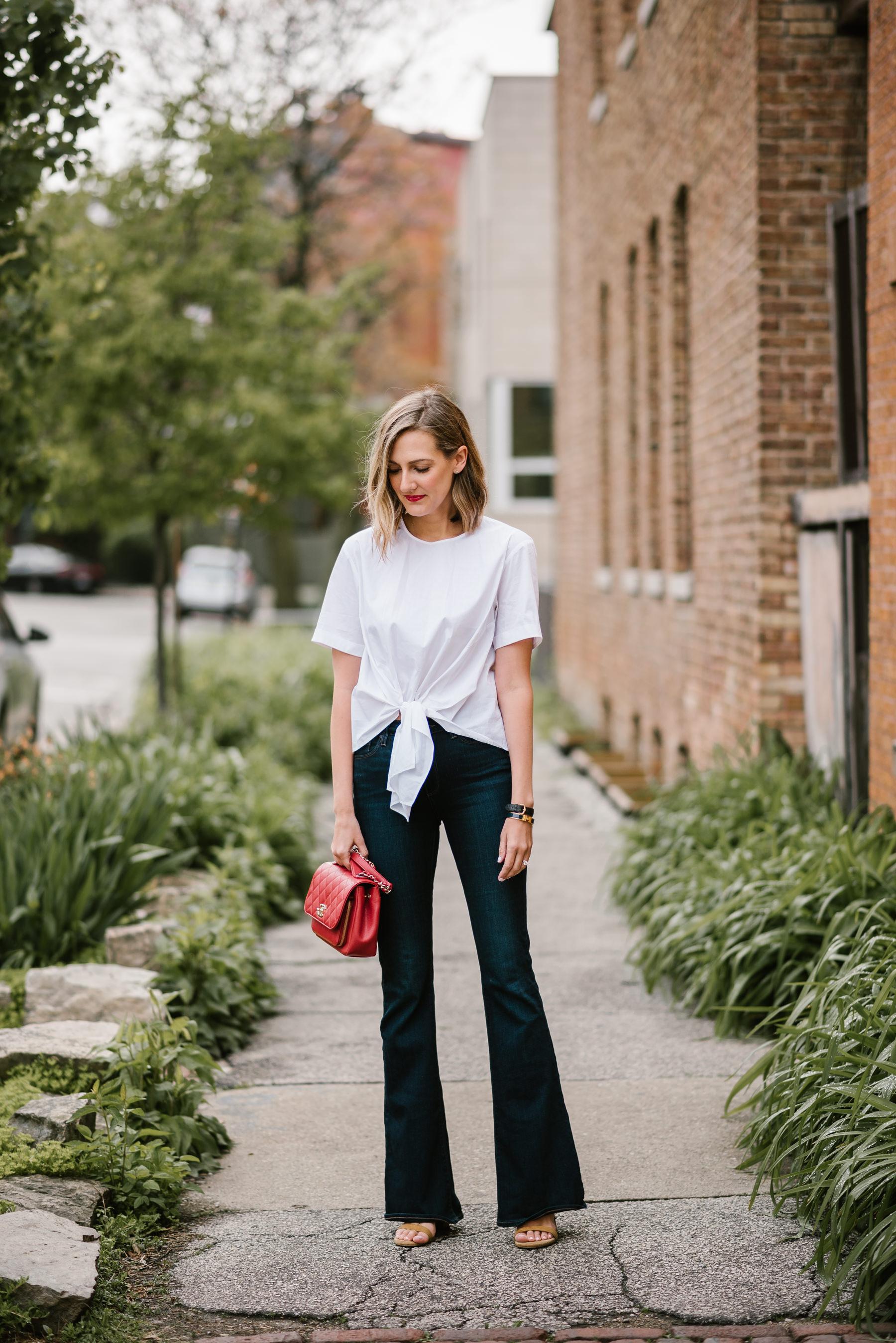 front tie poplin shirt flare jeans