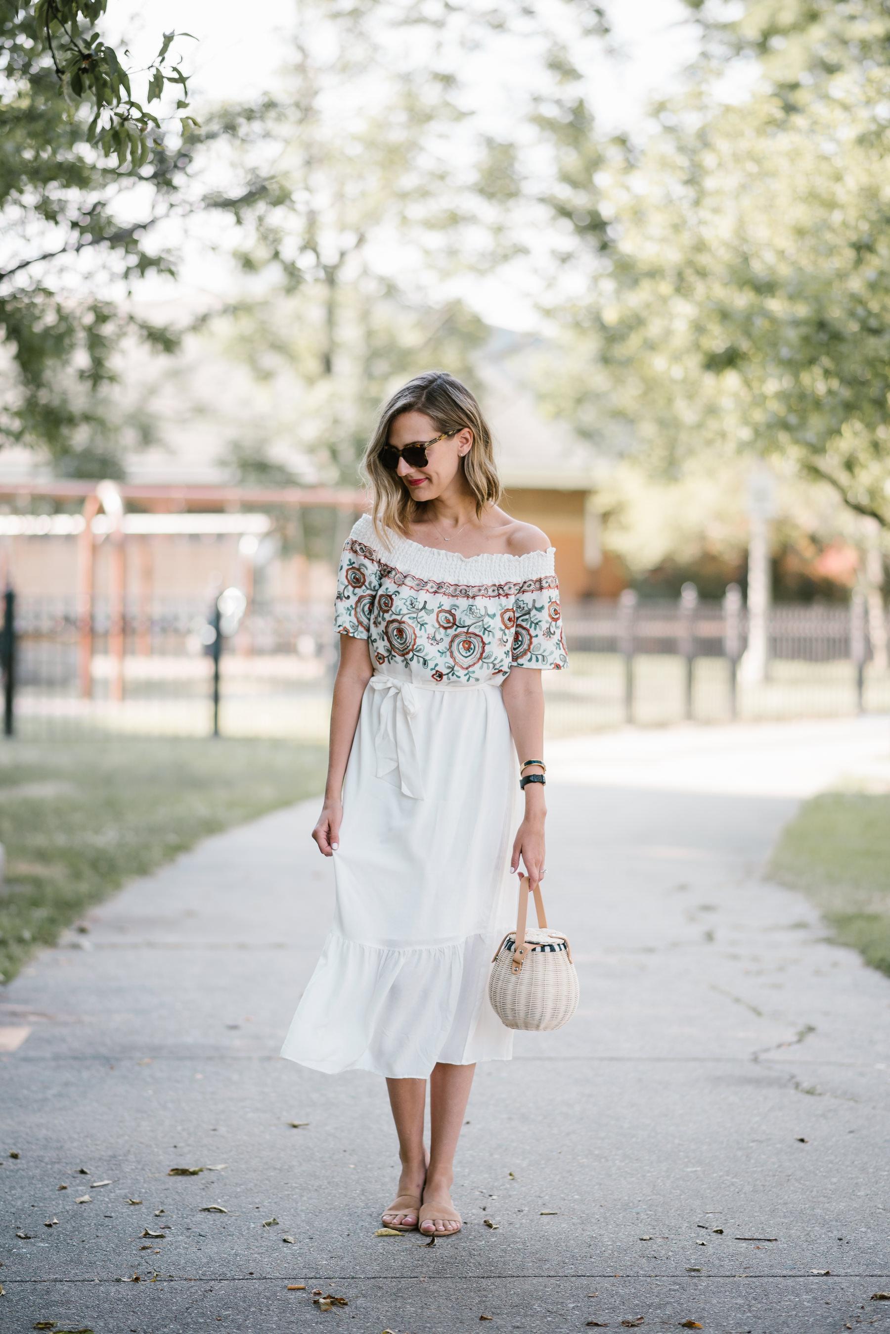 line dot off the shoulder embroidered dress