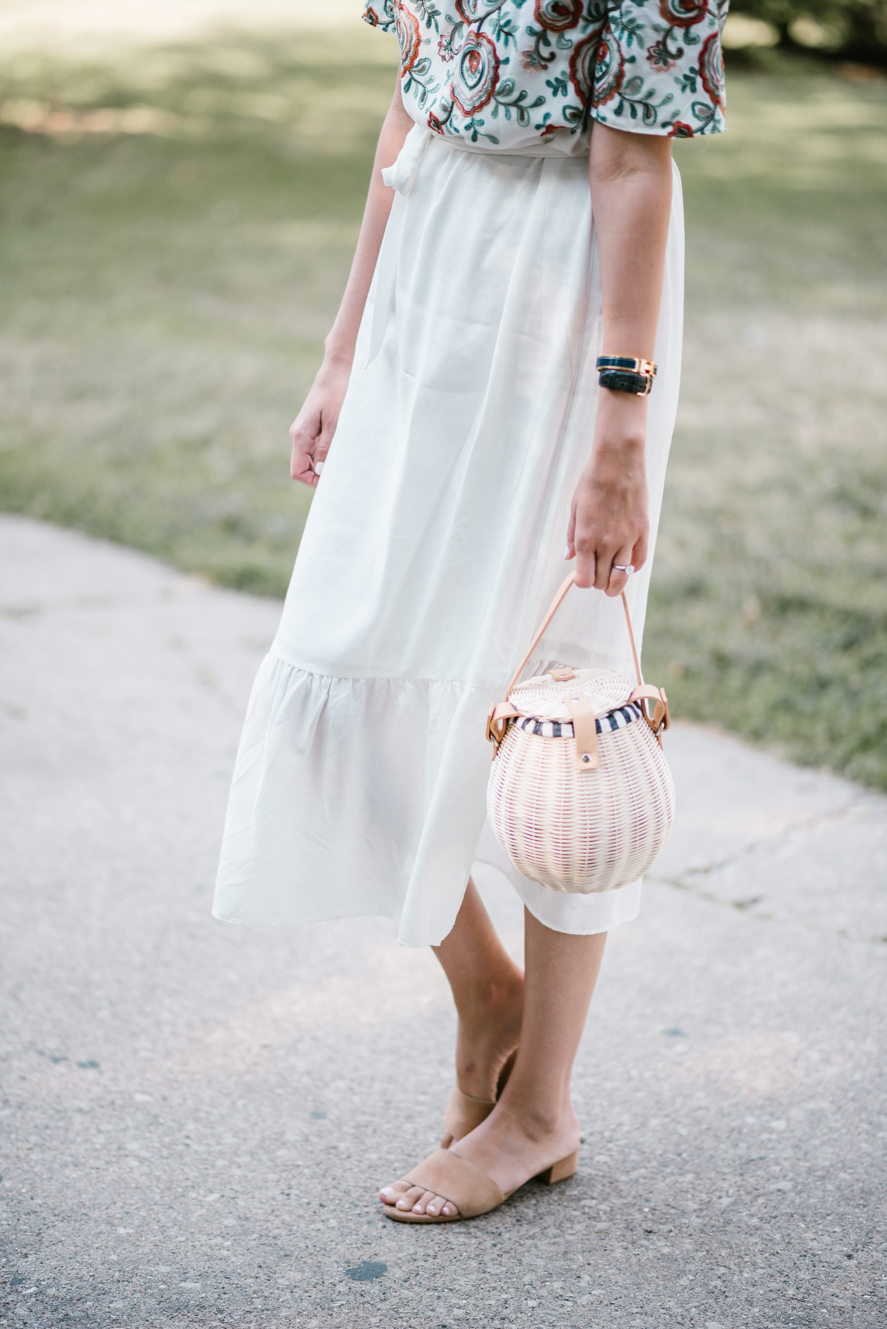line dot off the shoulder embroidered dress schutz shoes
