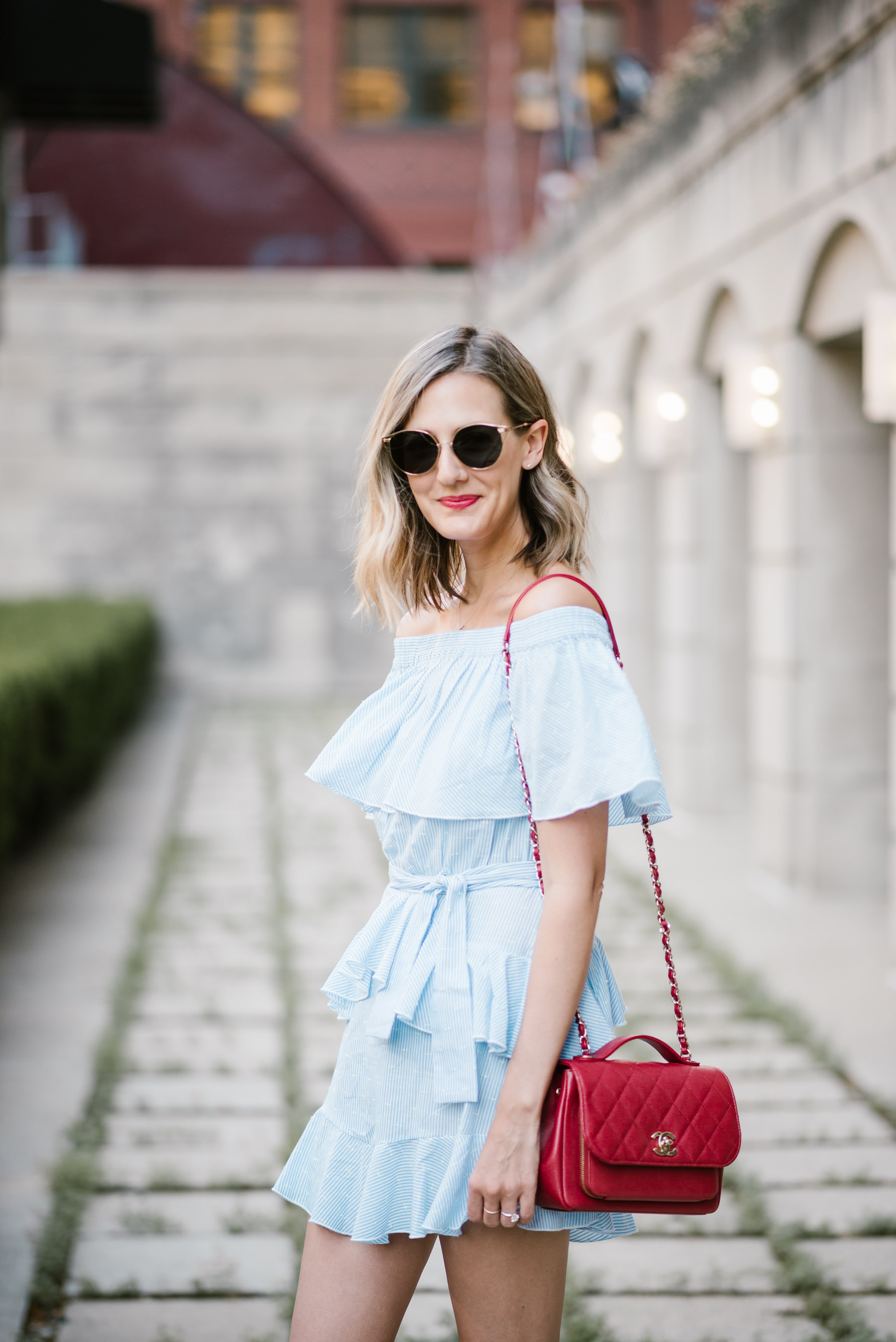 topshop off the shoulder dress sonix sunglasses