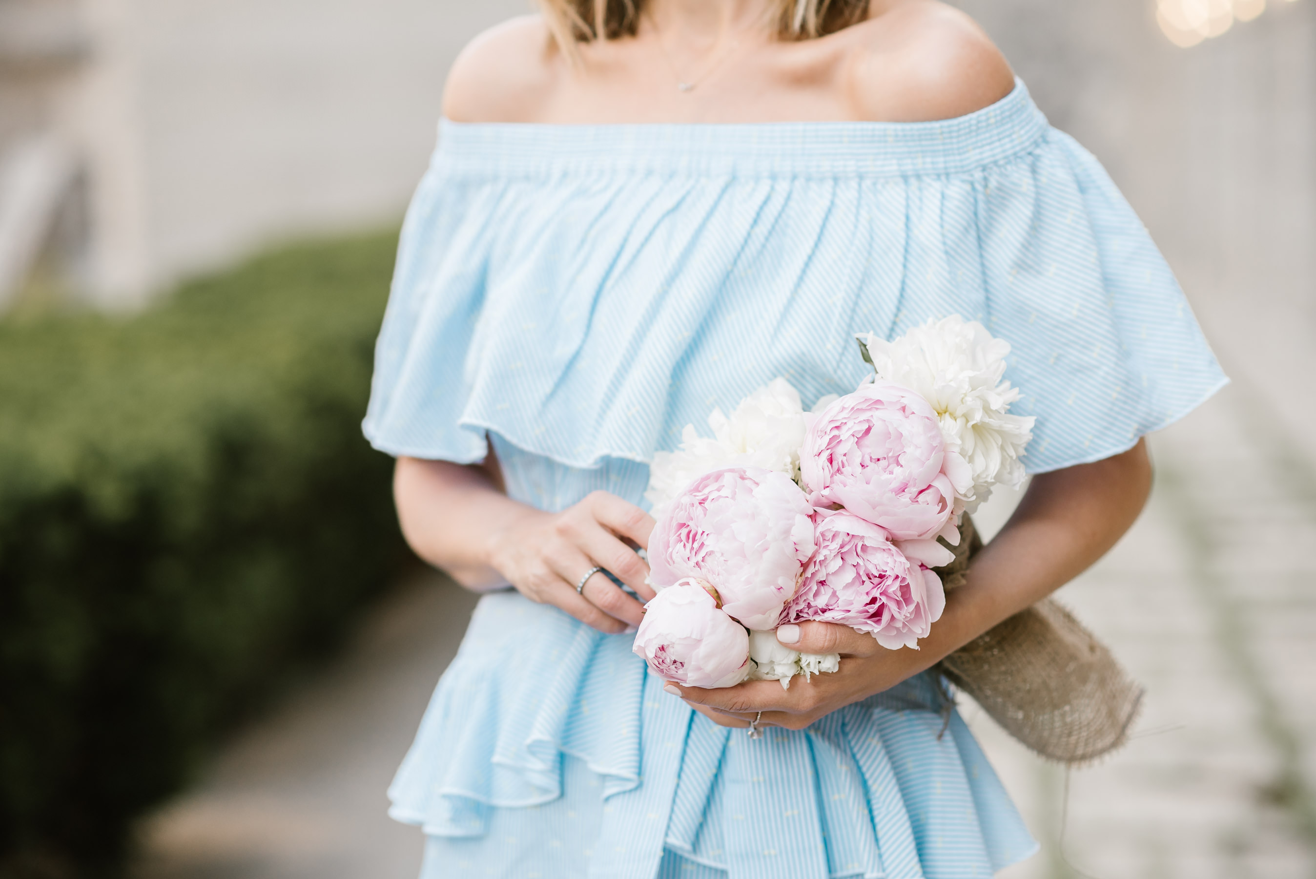 topshop off the shoulder ruffle mini dress peonies