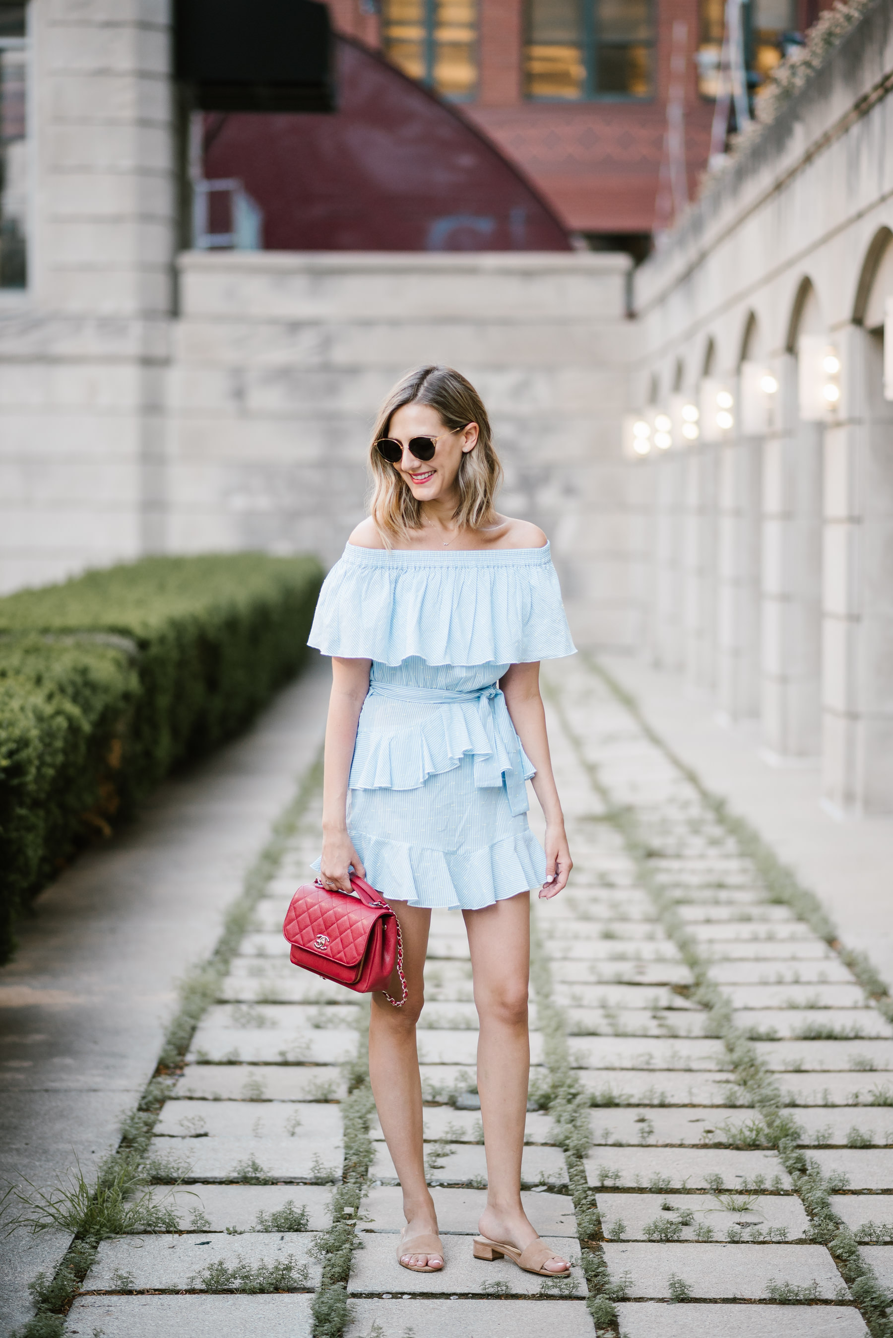 off the shoulder ruffle mini dress topshop red chanel