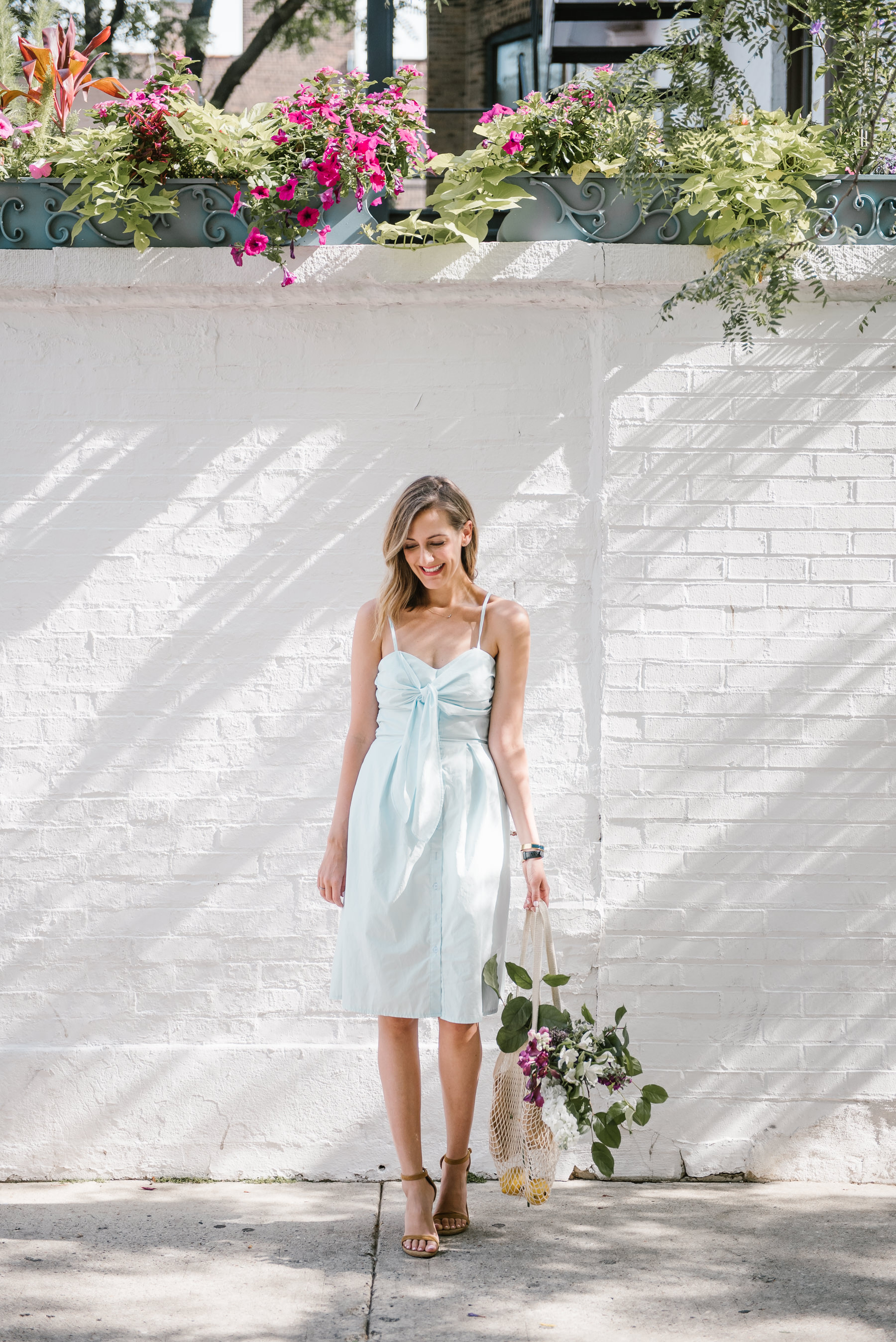 bridal shower dress tie front farrow maida