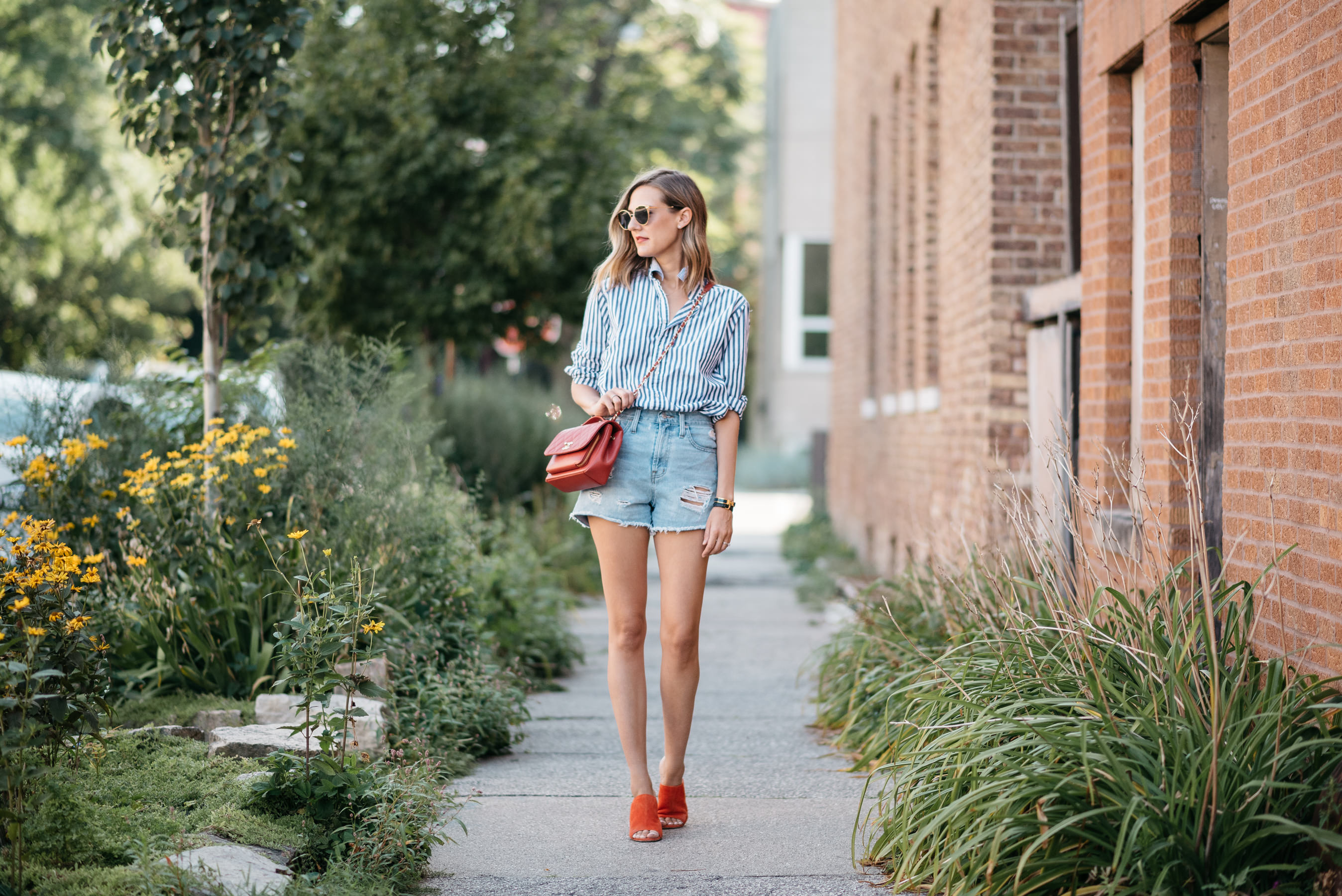 preppy jean shorts look