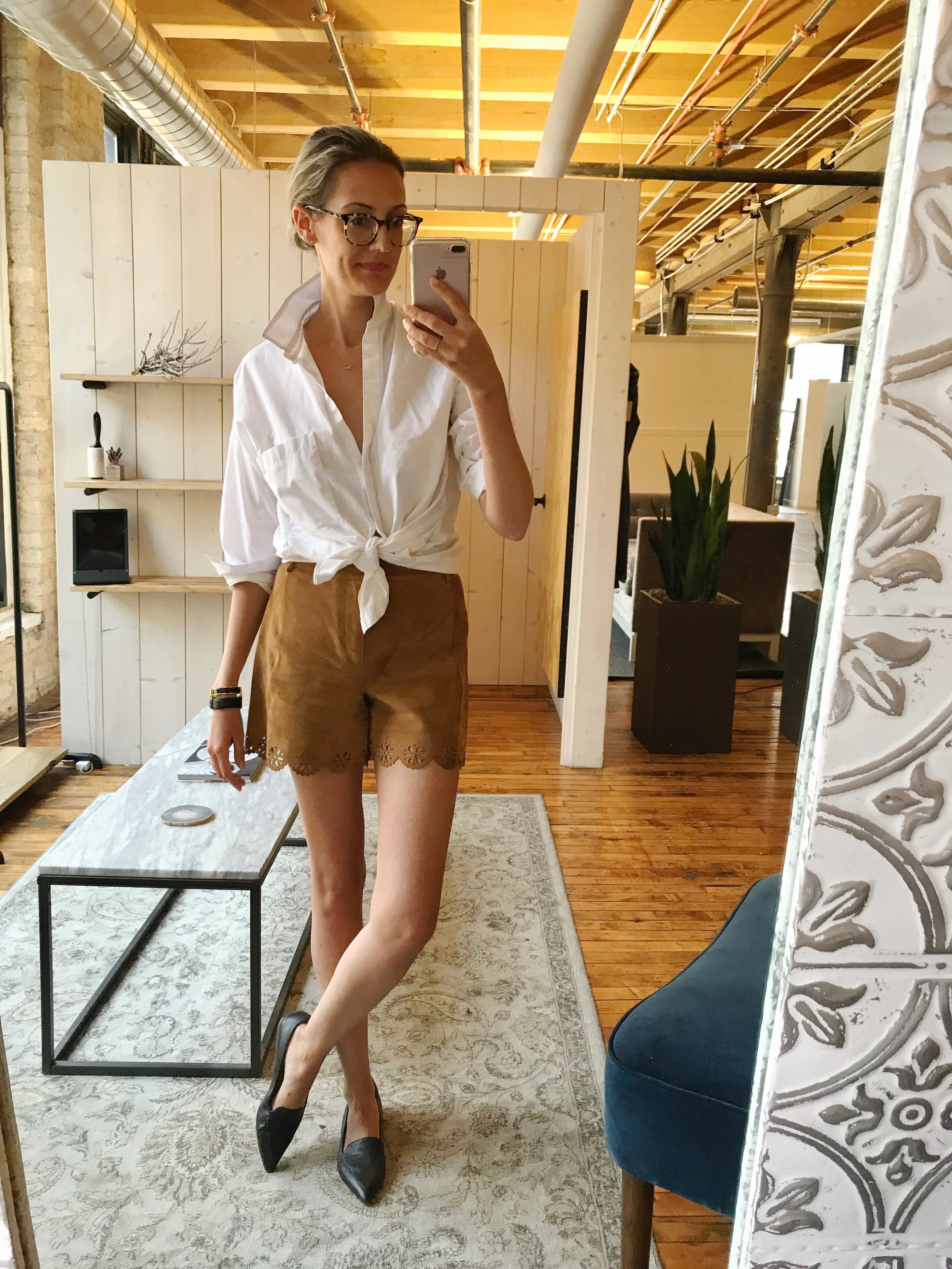 old zara suede shorts, white poplin button down, M Gemi stellato flats, Warby Parker durand glasses #ootd