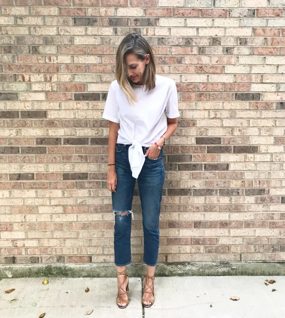 tie front top mom jeans casual perfection