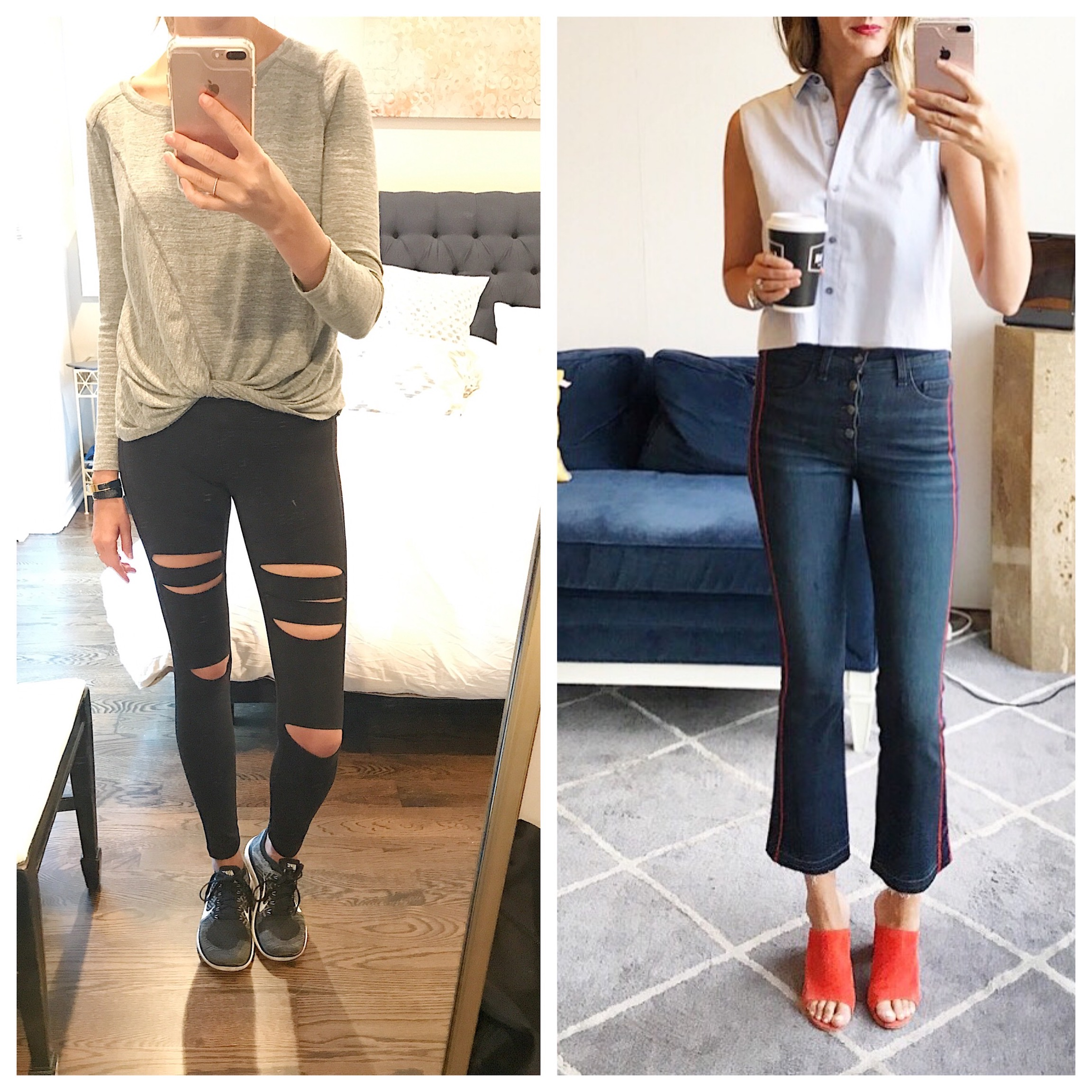 outfit 1: Zella top, Zella pants, Nike shoes outfit 2: T by Wang top, Veronica Beard jeans, M Gemi mules