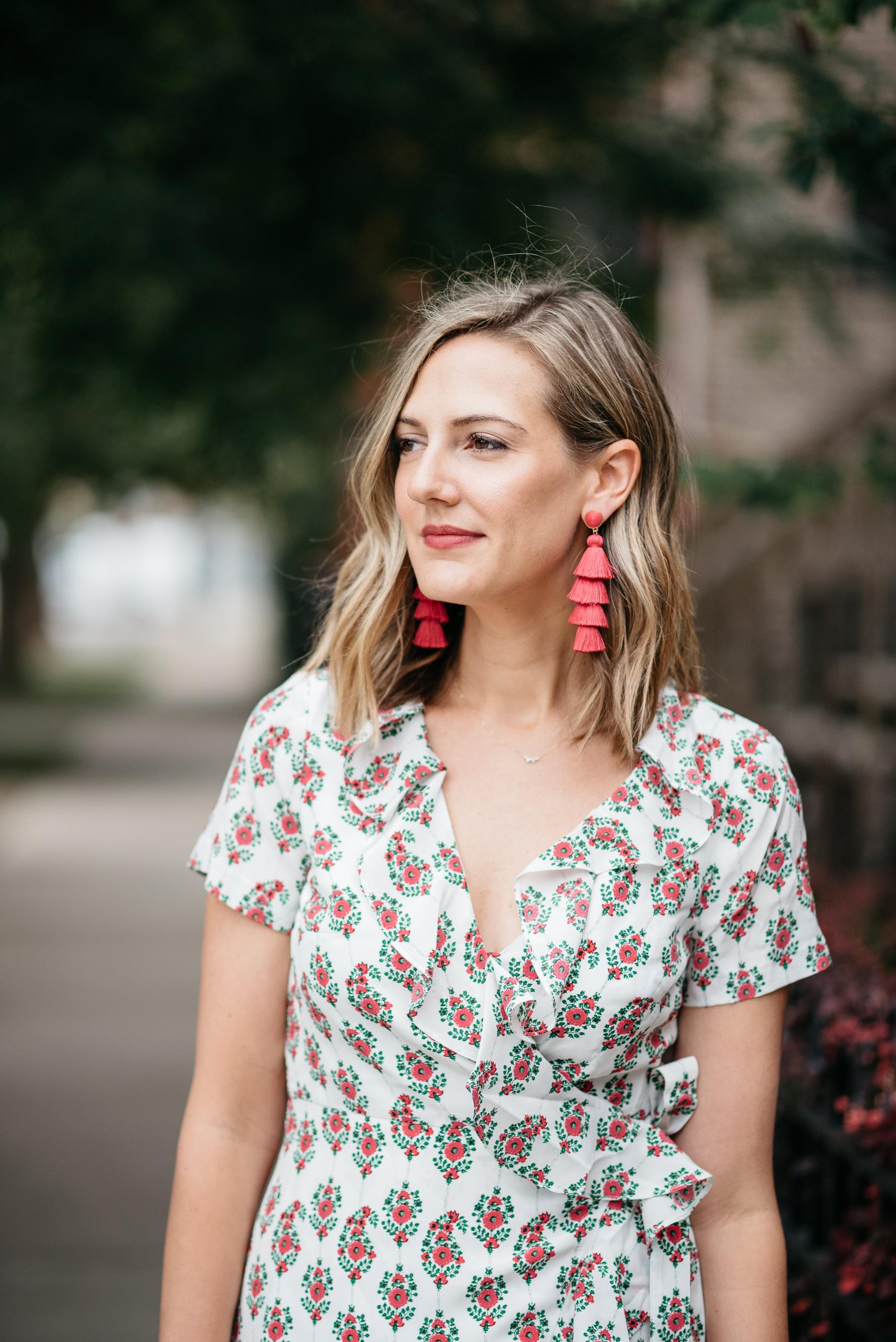 floral fall dress statement earrings wavy lob