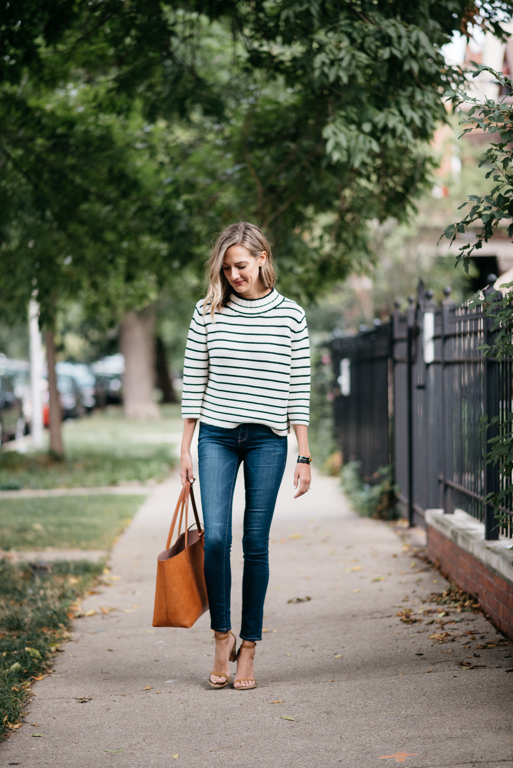 stripes sweater jeans outfit fall