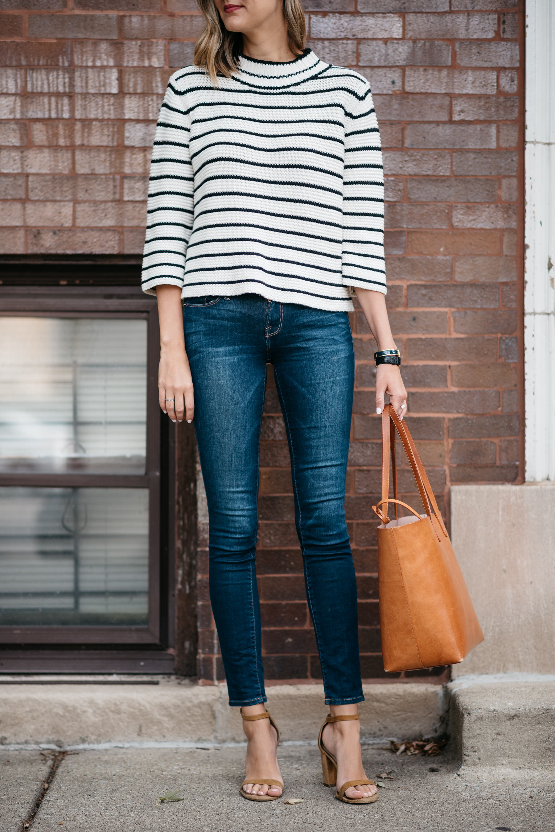 striped sweater jeans outfit fall