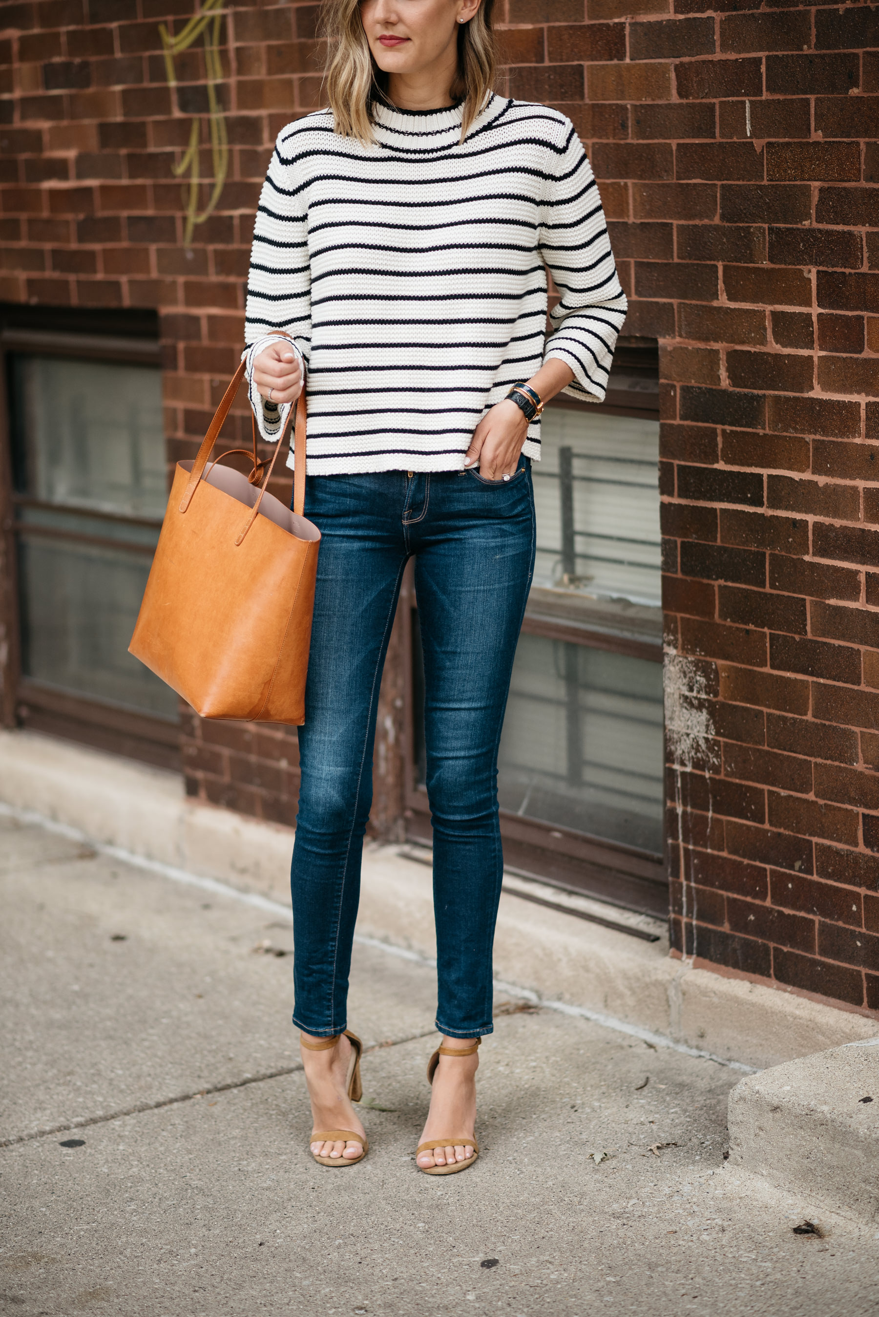 striped sweater jeans fall uniform