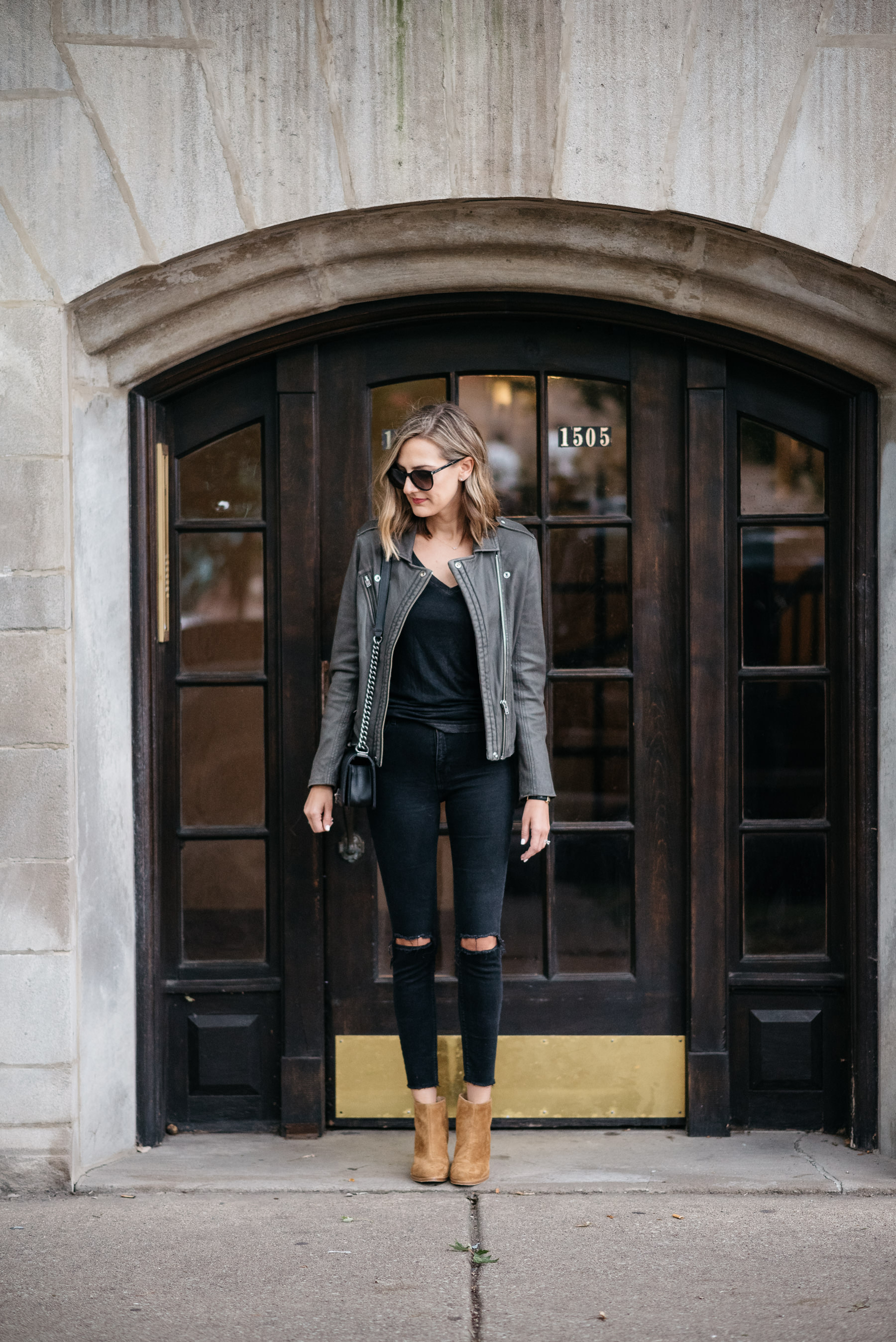 iro leather jacket han grey all black outfit