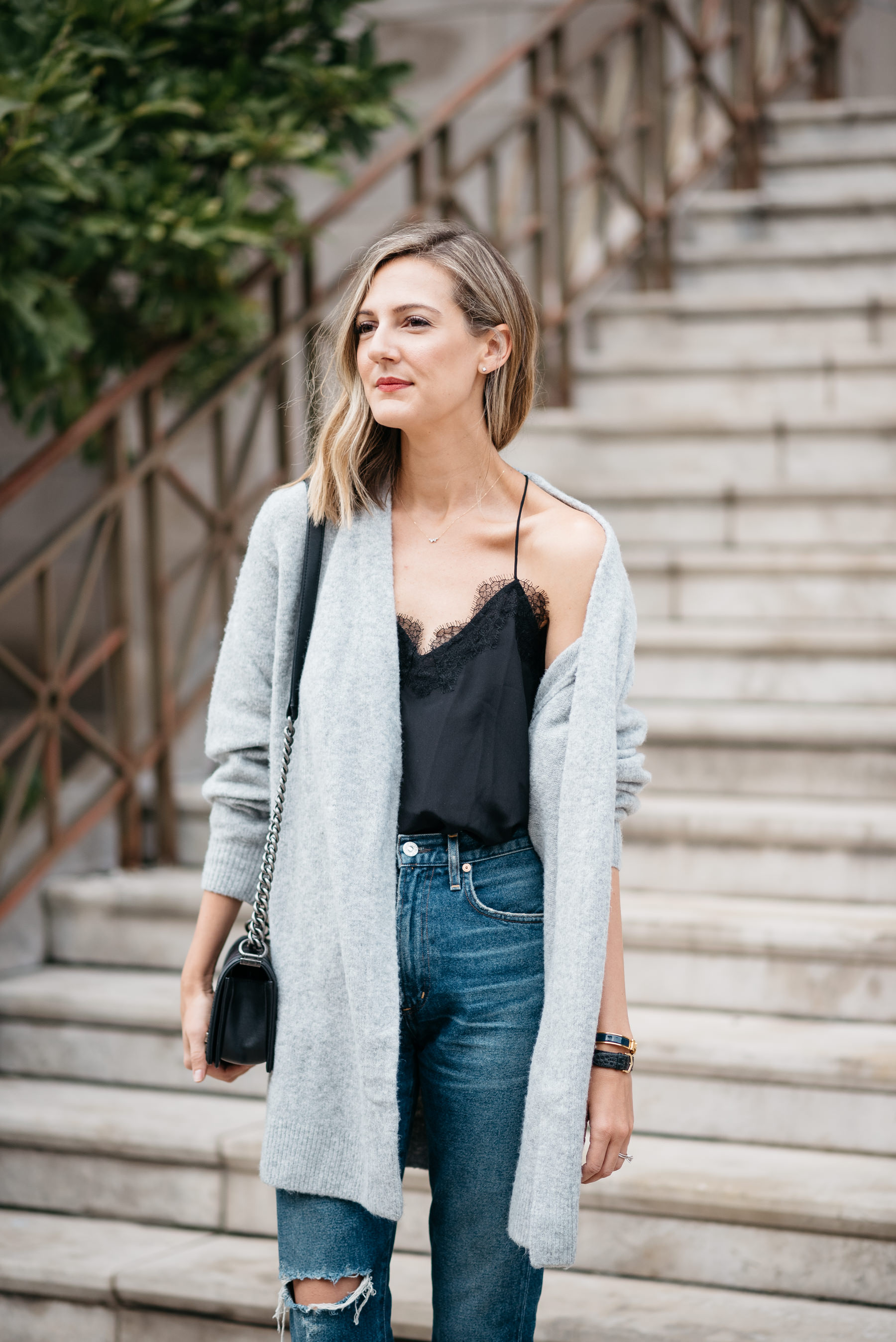 cc34cd7f4c3 how to wear a boyfriend cardigan with a sexy lace cami for fall