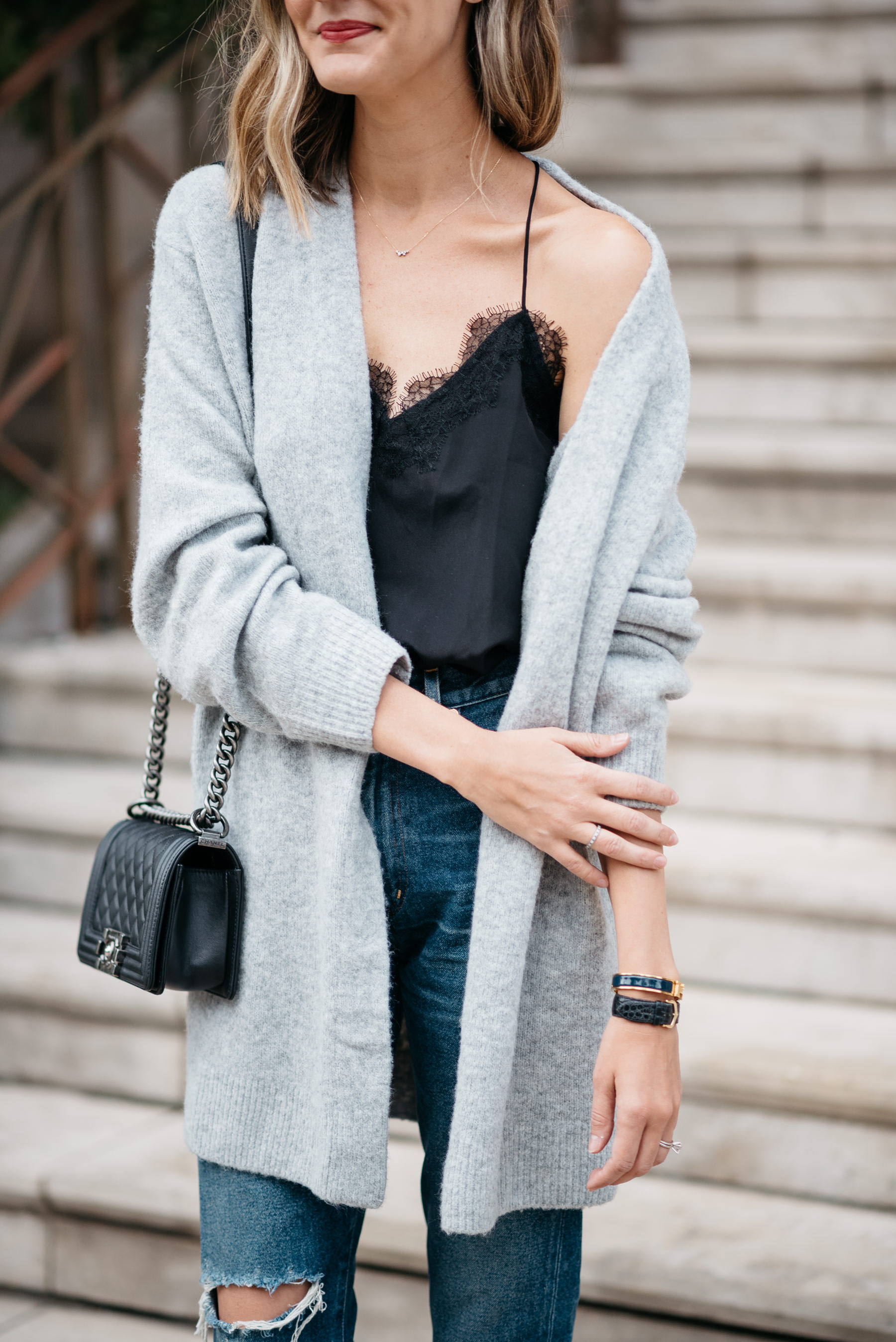 oversized boyfriend cardigan lace cami fall outfit