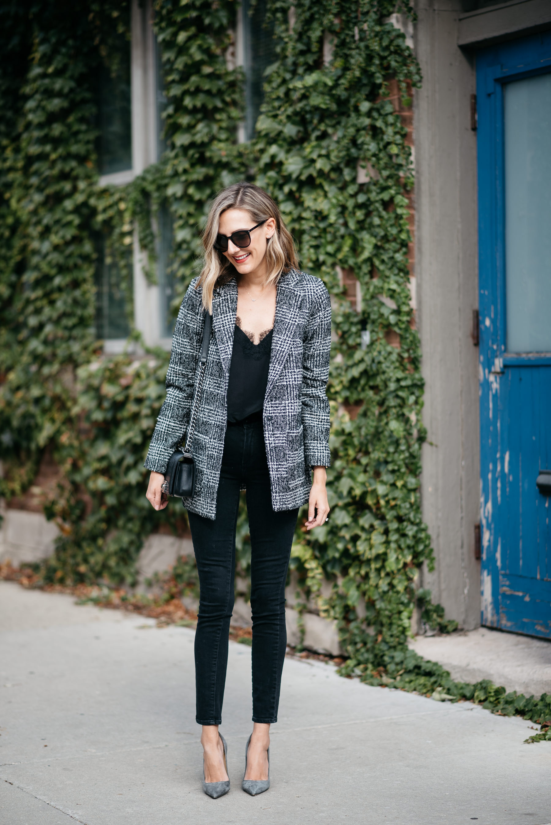 plaid boyfriend check blazer outfit