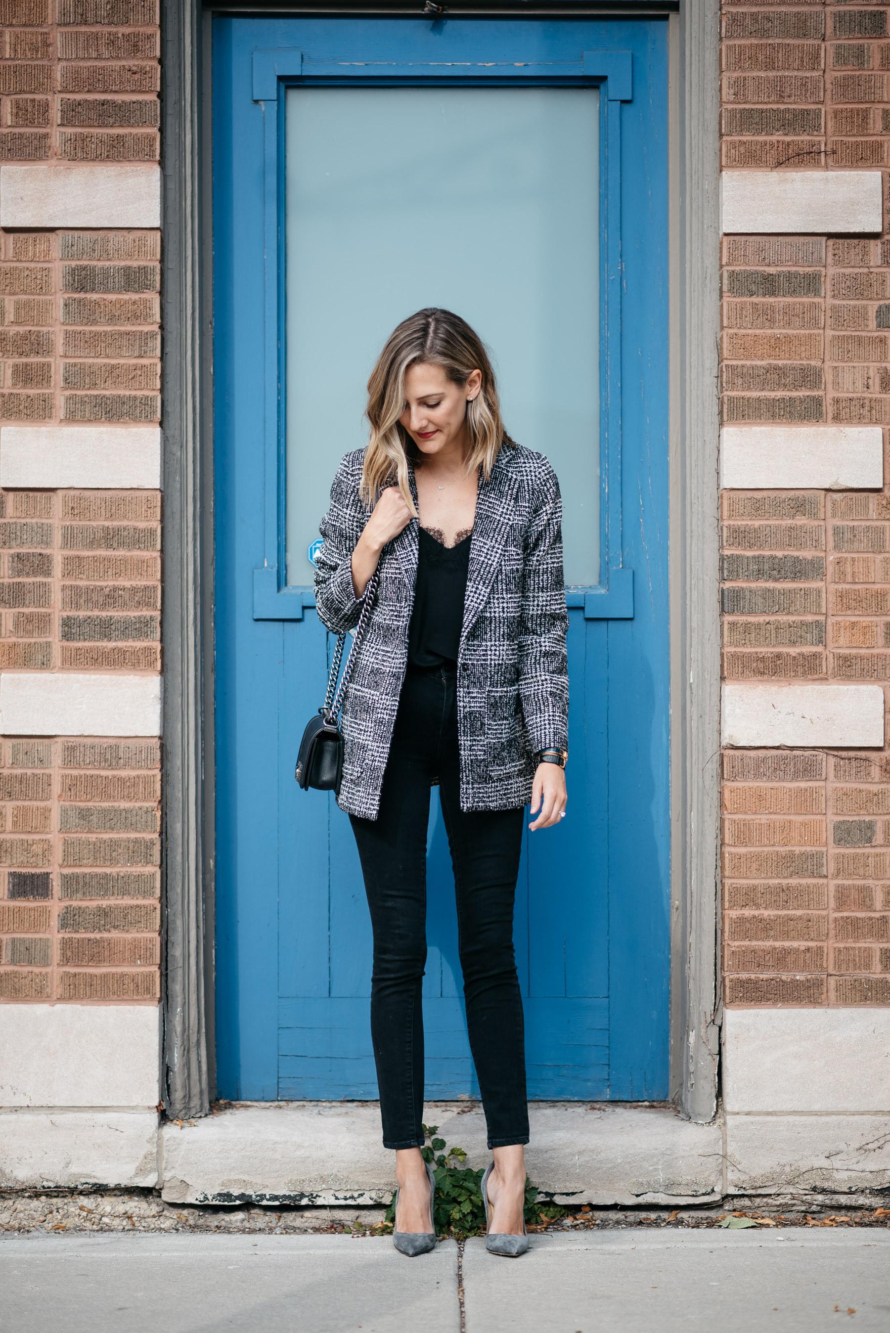 plaid blazer outfit