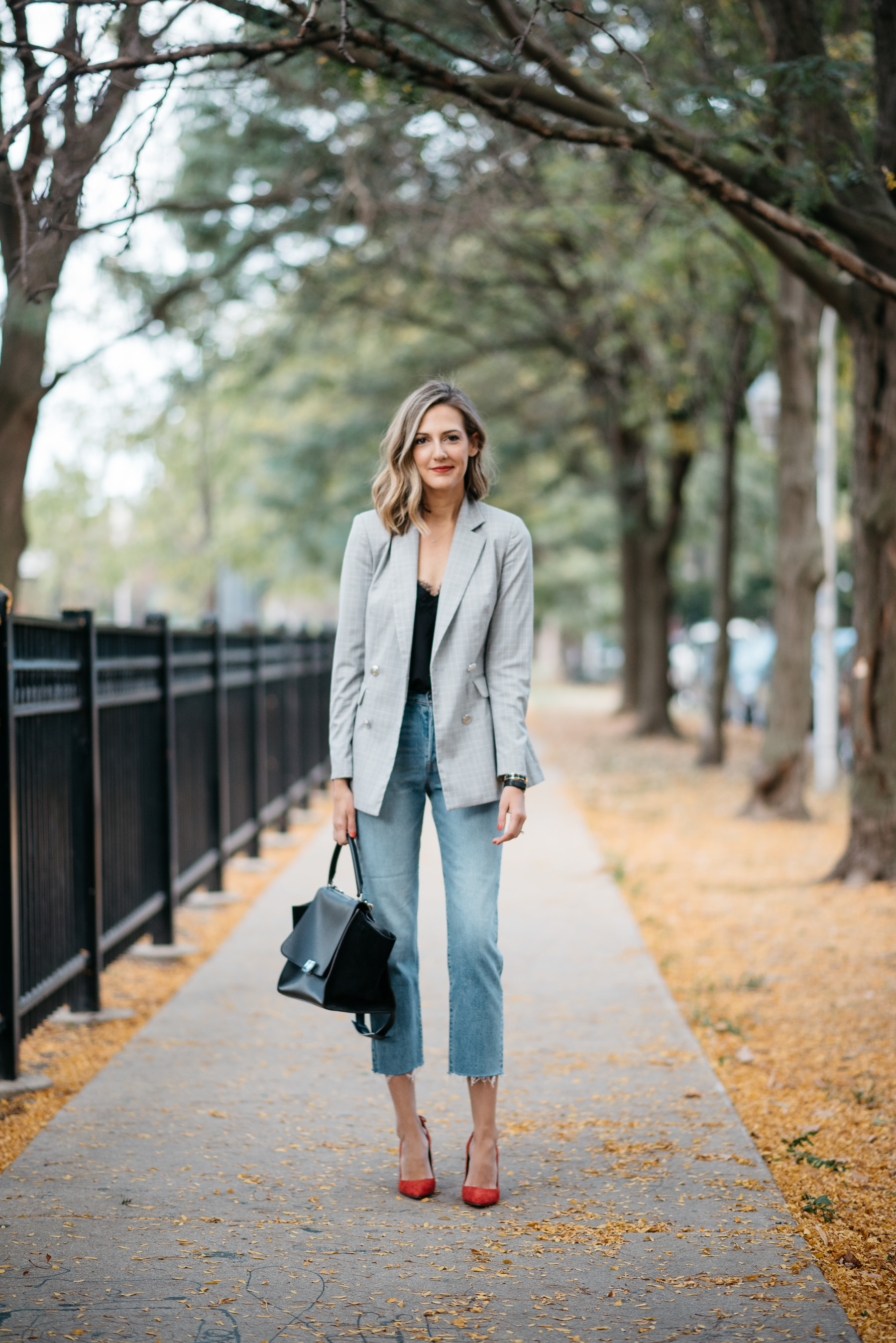 plaid blazer outfit cami nyc celine bag aquazzura marilyn