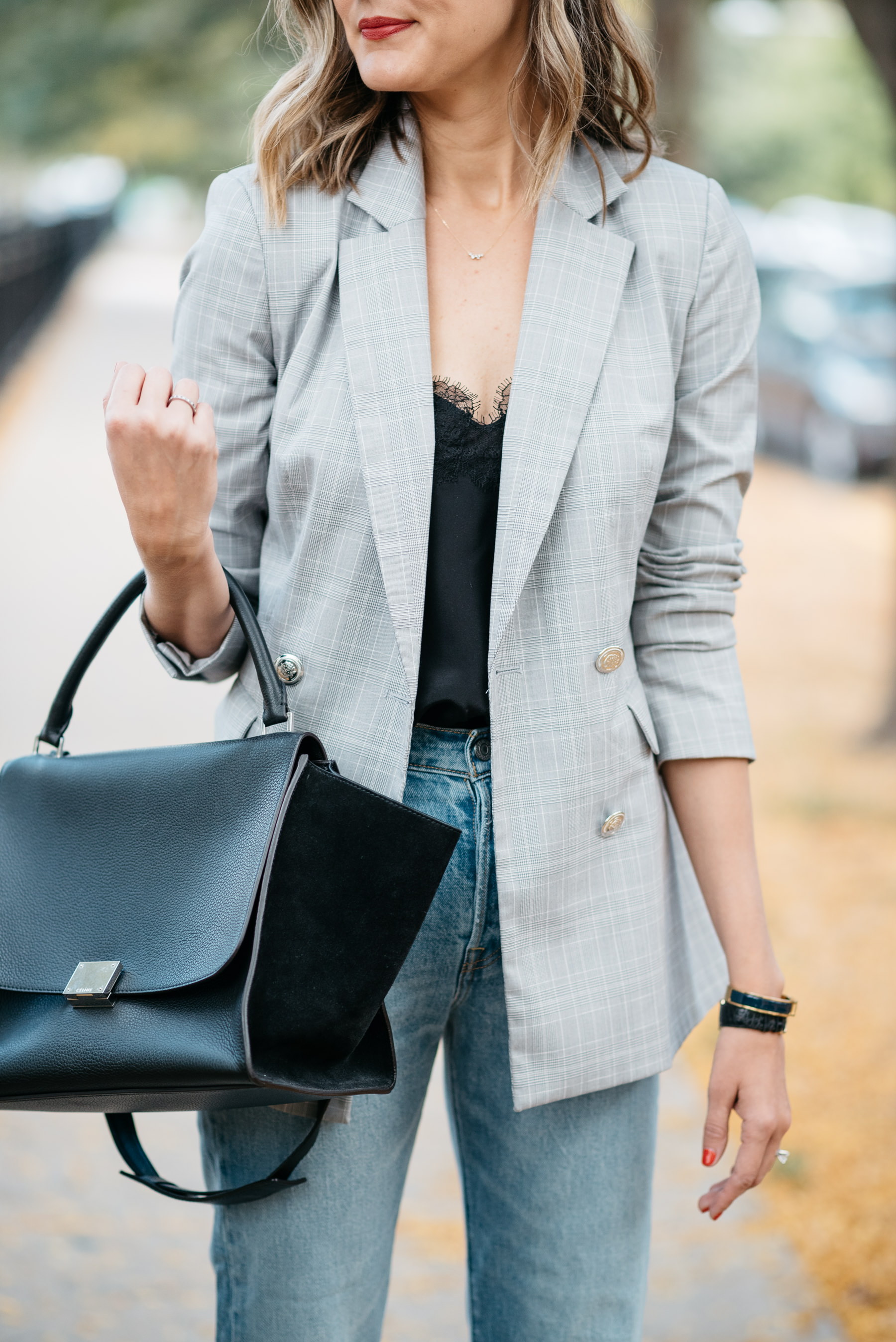 plaid blazer outfit cami nyc celine bag