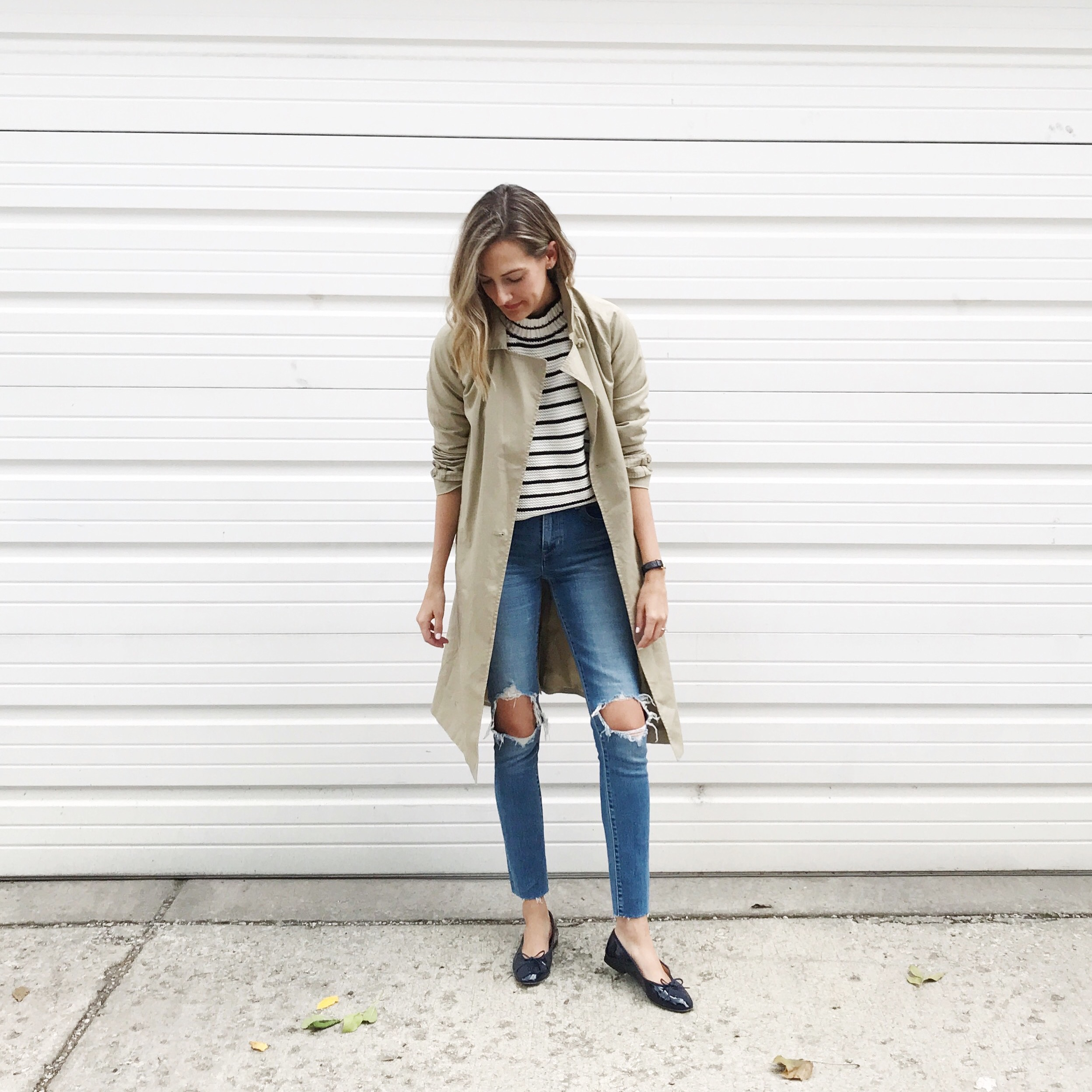 french girl outfit stripes trench chanel flats