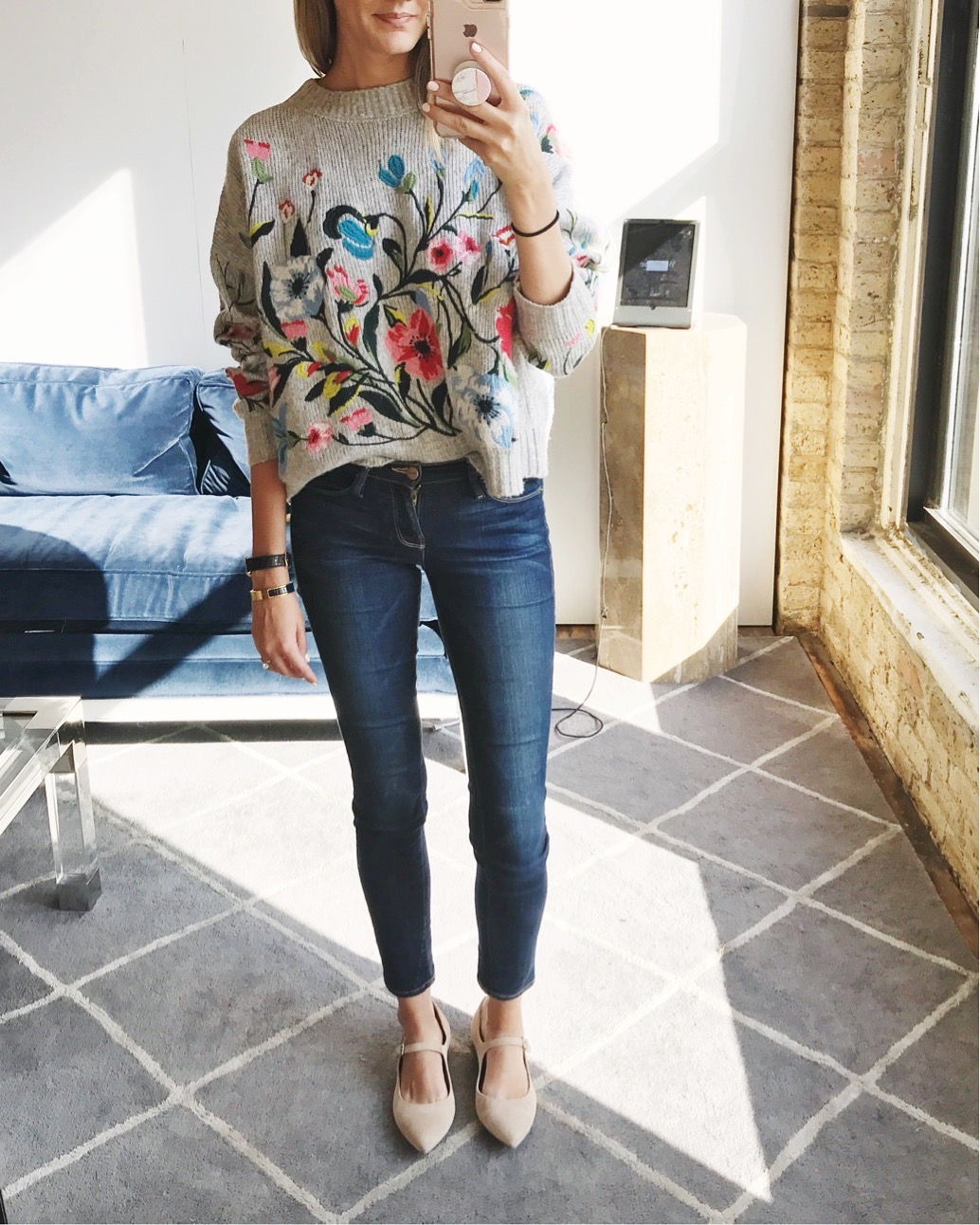 floral embroidered sweater mary jane lewit