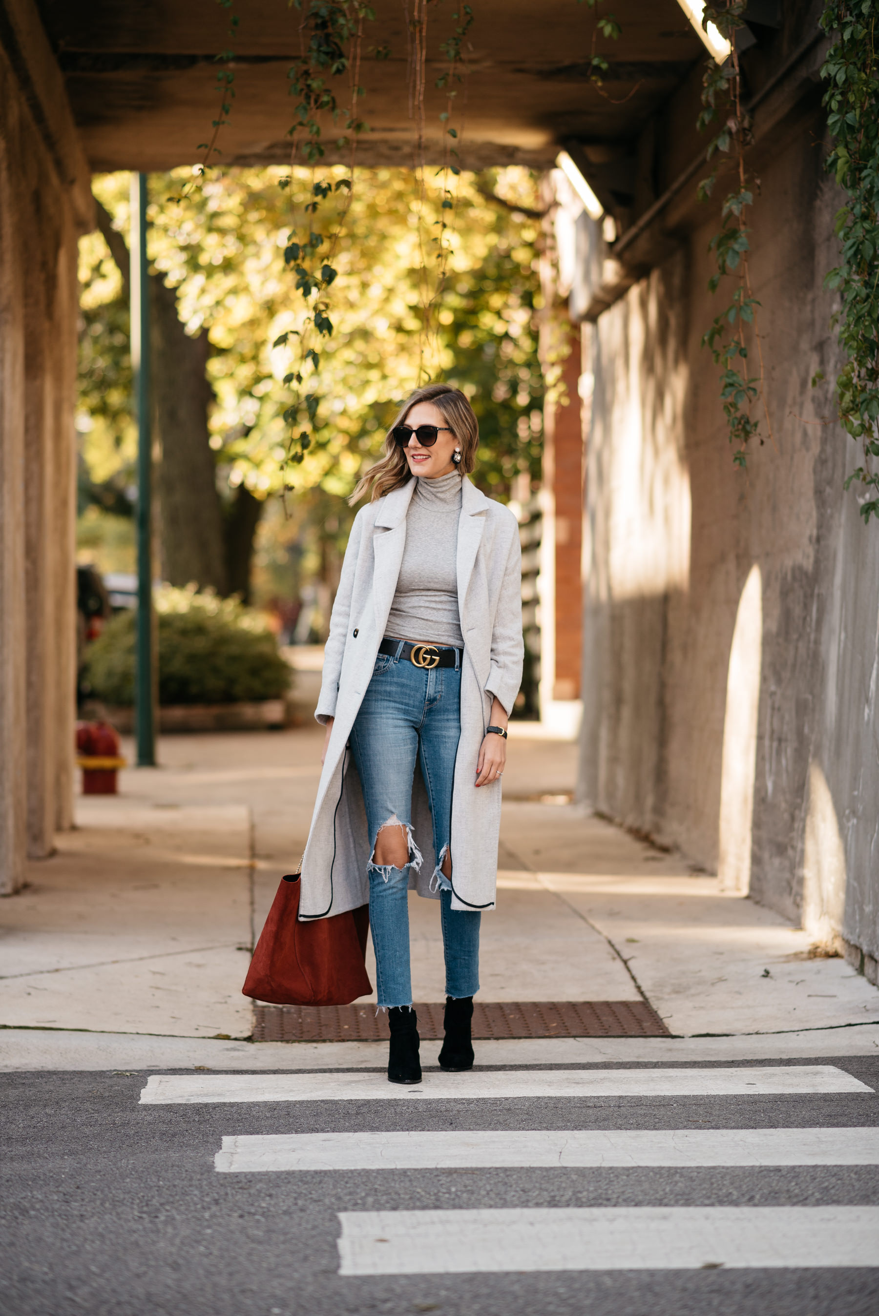 grey layers monochromatic layering sezane gucci levis