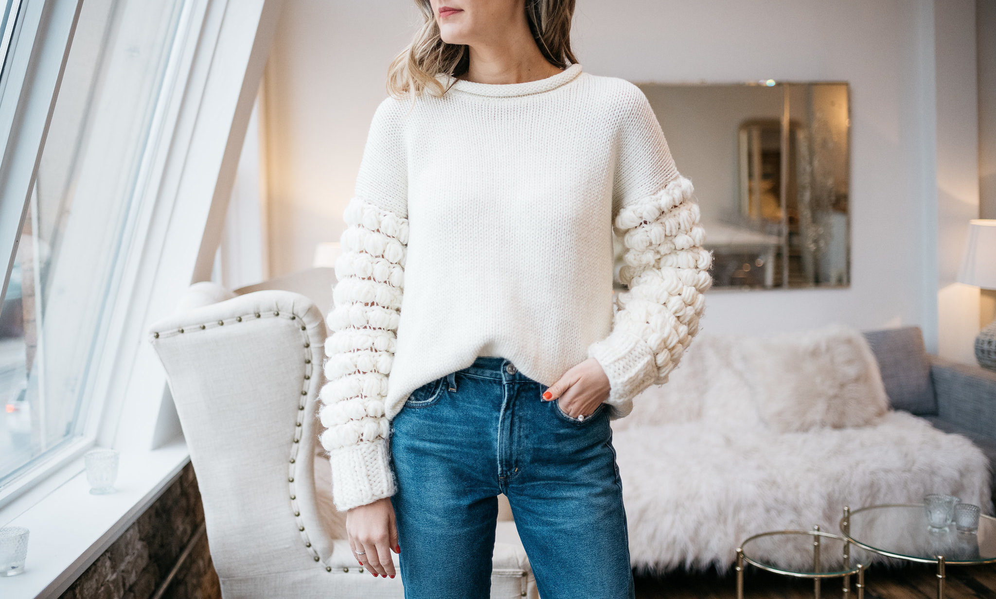 statement sleeve bobble sleeve topshop sweater