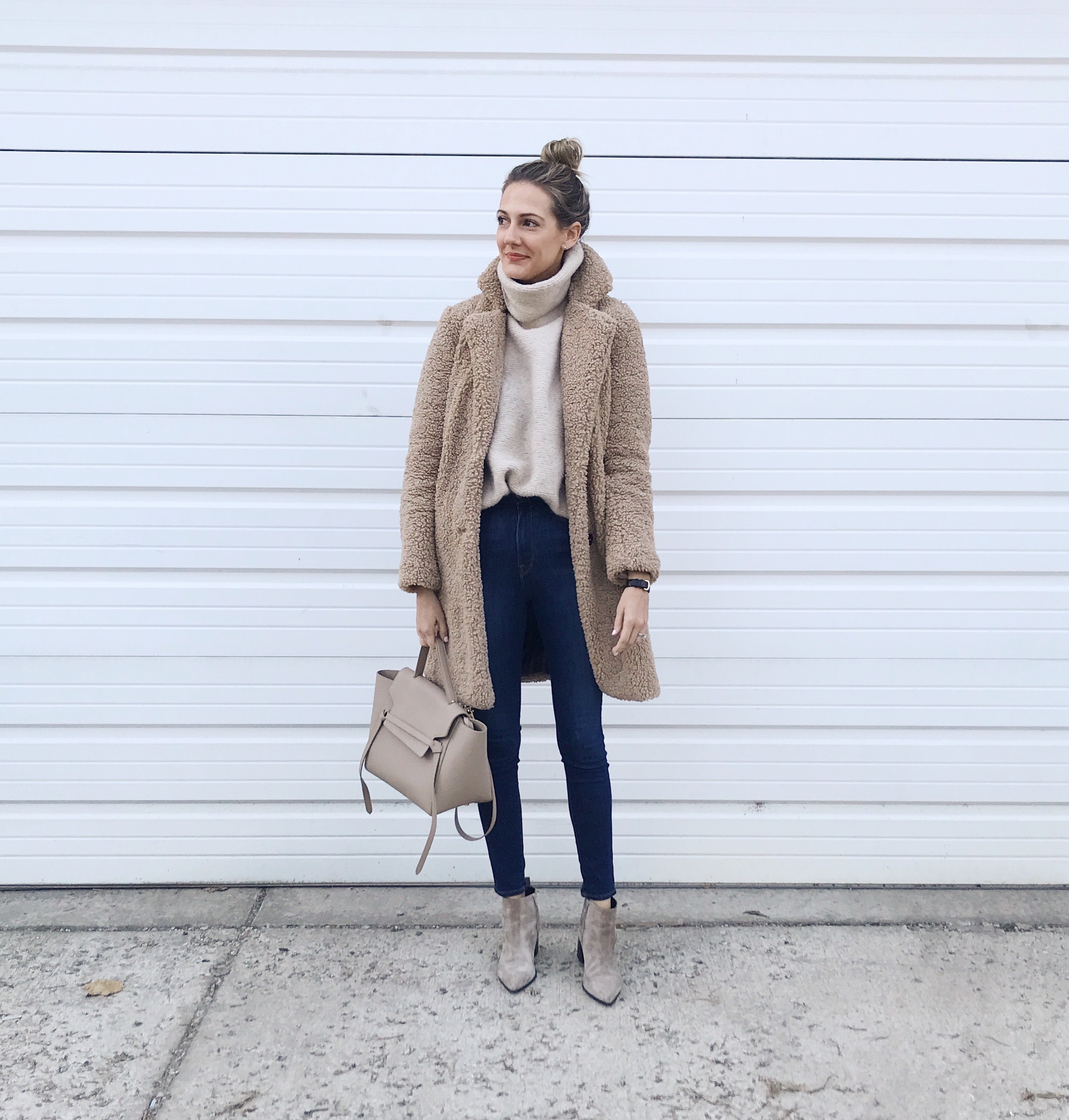 easy winter outfit teddy coat sherpa
