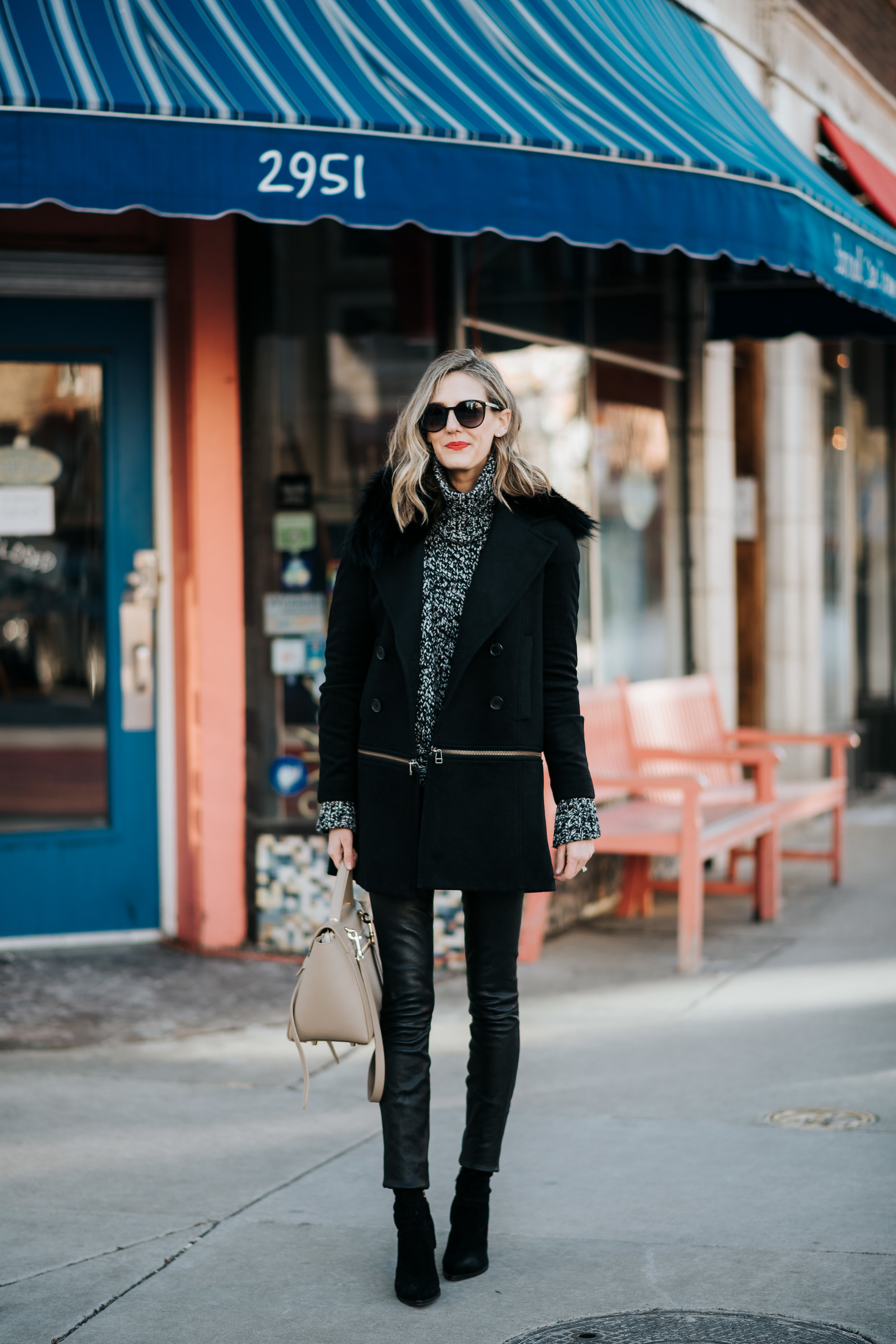 theory leather leggings celine belt bad marled sweater veronica beard coat