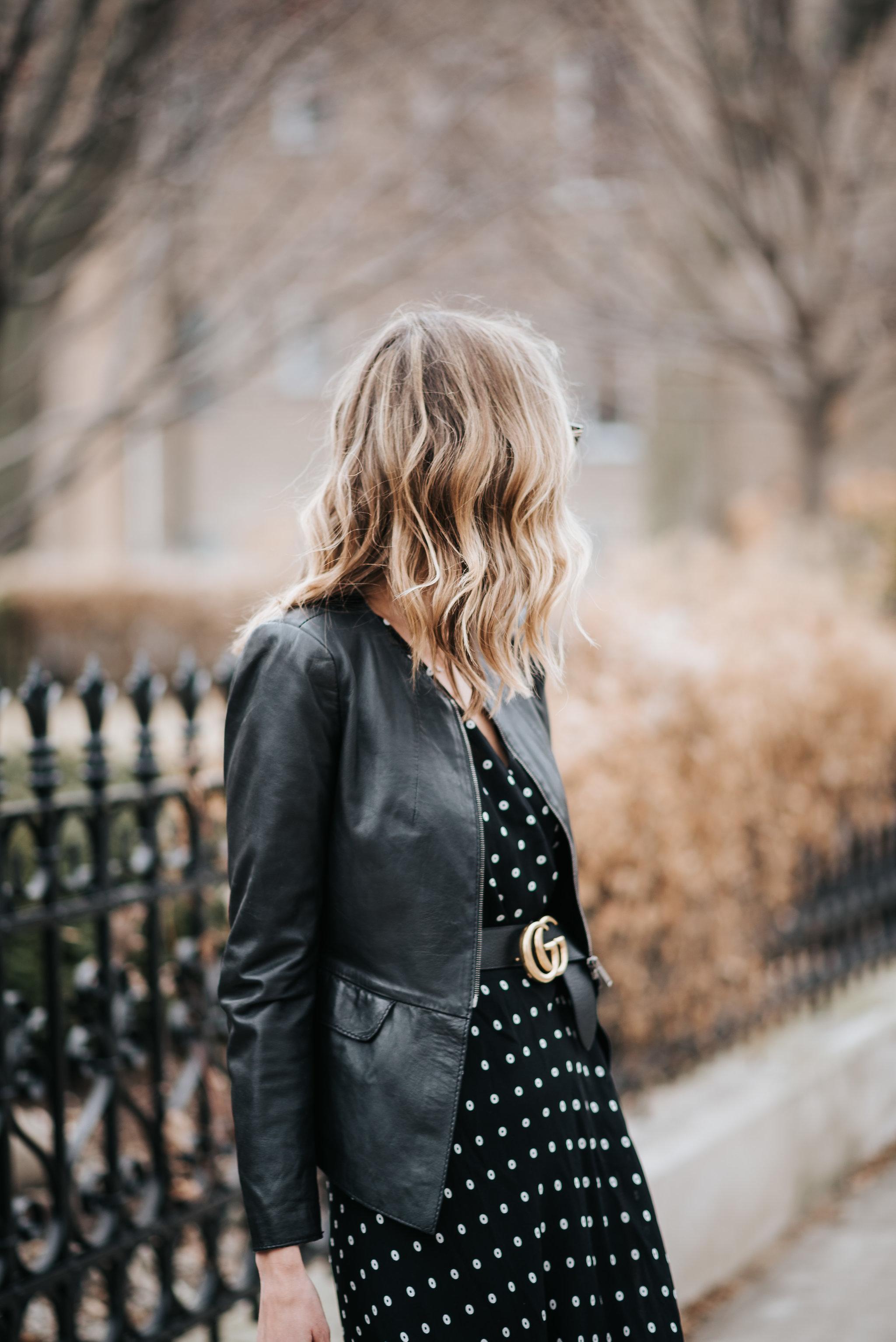polka dot midi dress bardot nordstrom celine belt bag gucci belt blonde hair