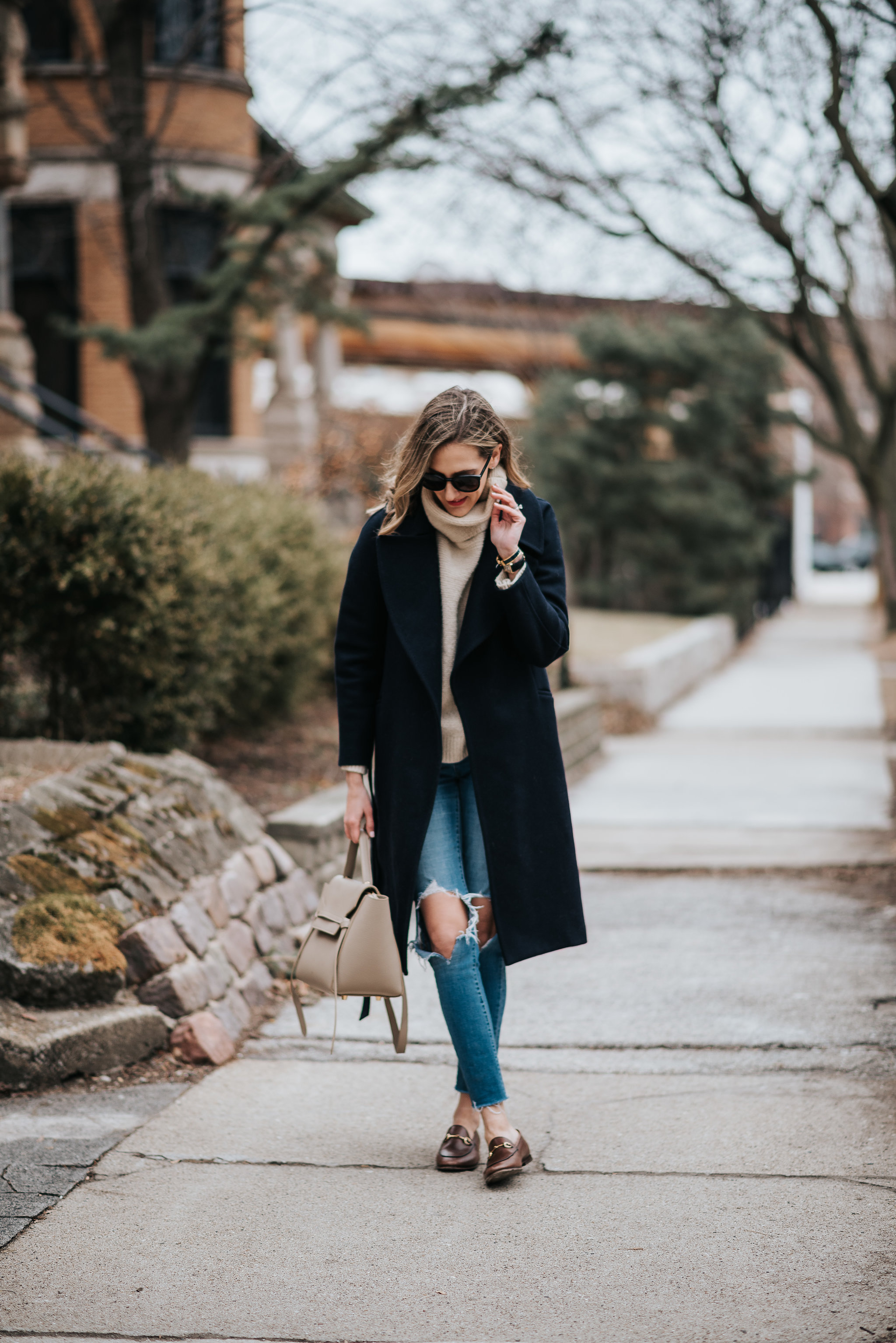 classic winter outfit how to wear gucci loafers celine belt bag