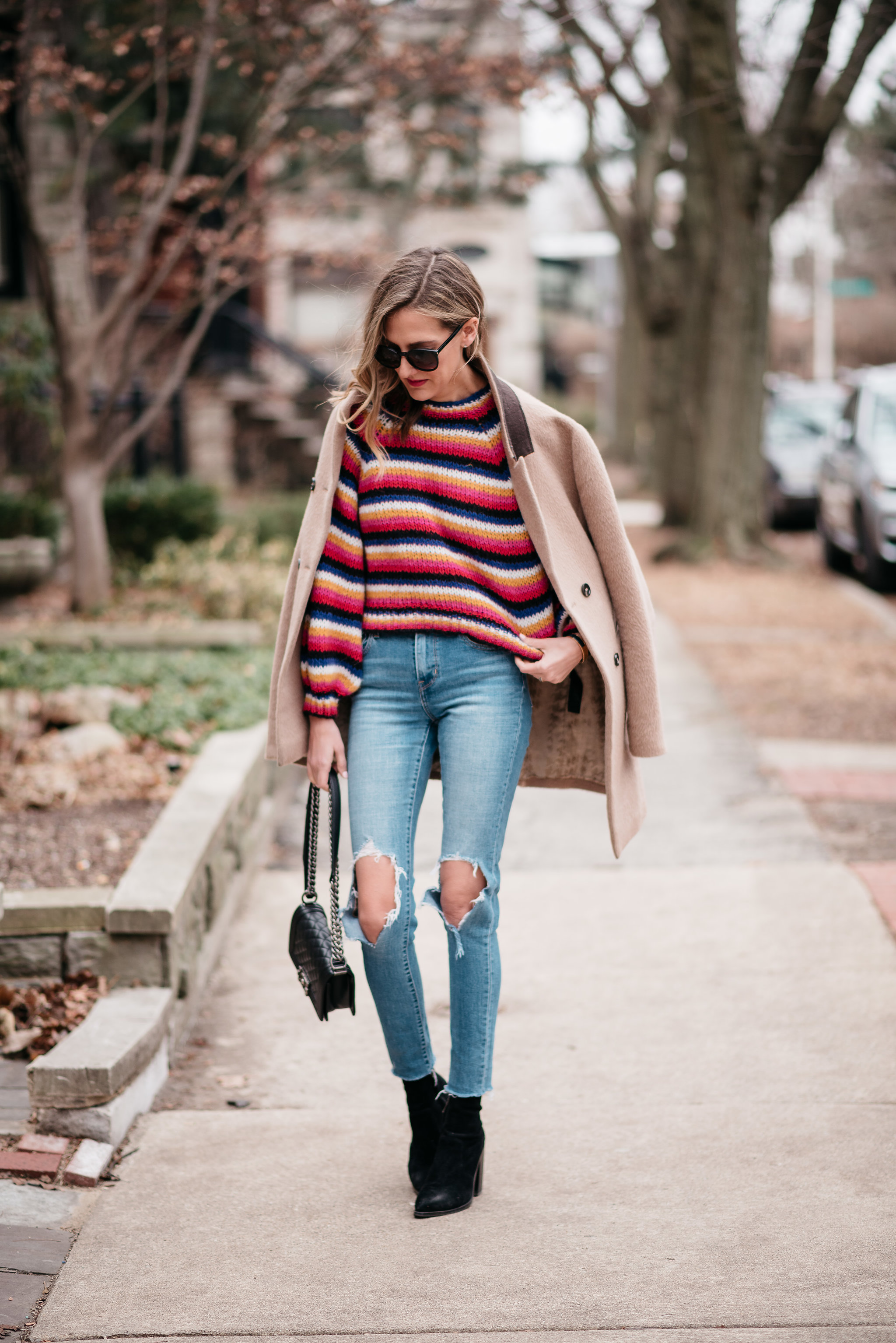 colorful striped sweater zara levis 721 chanel boy bag camel coat