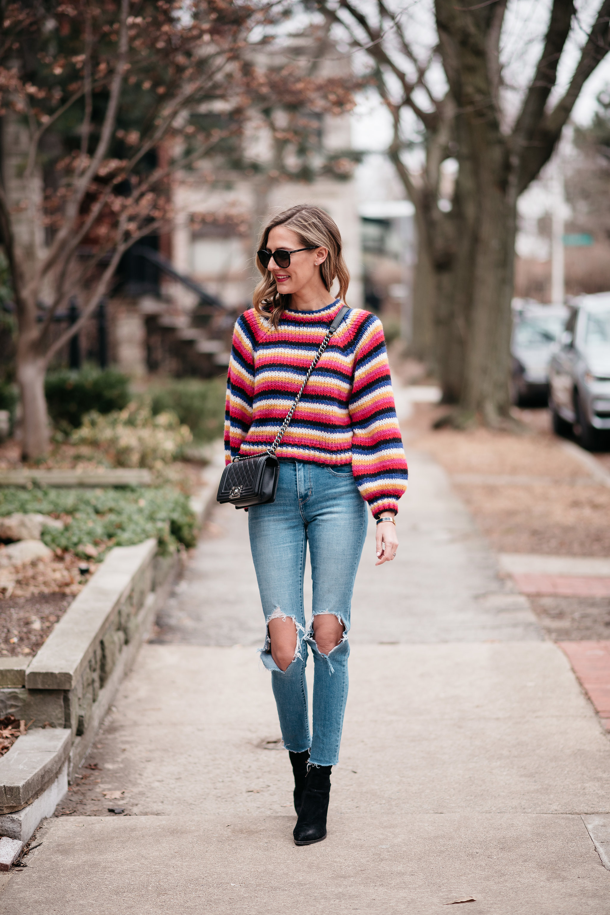 bold striped sweater late winter dressing