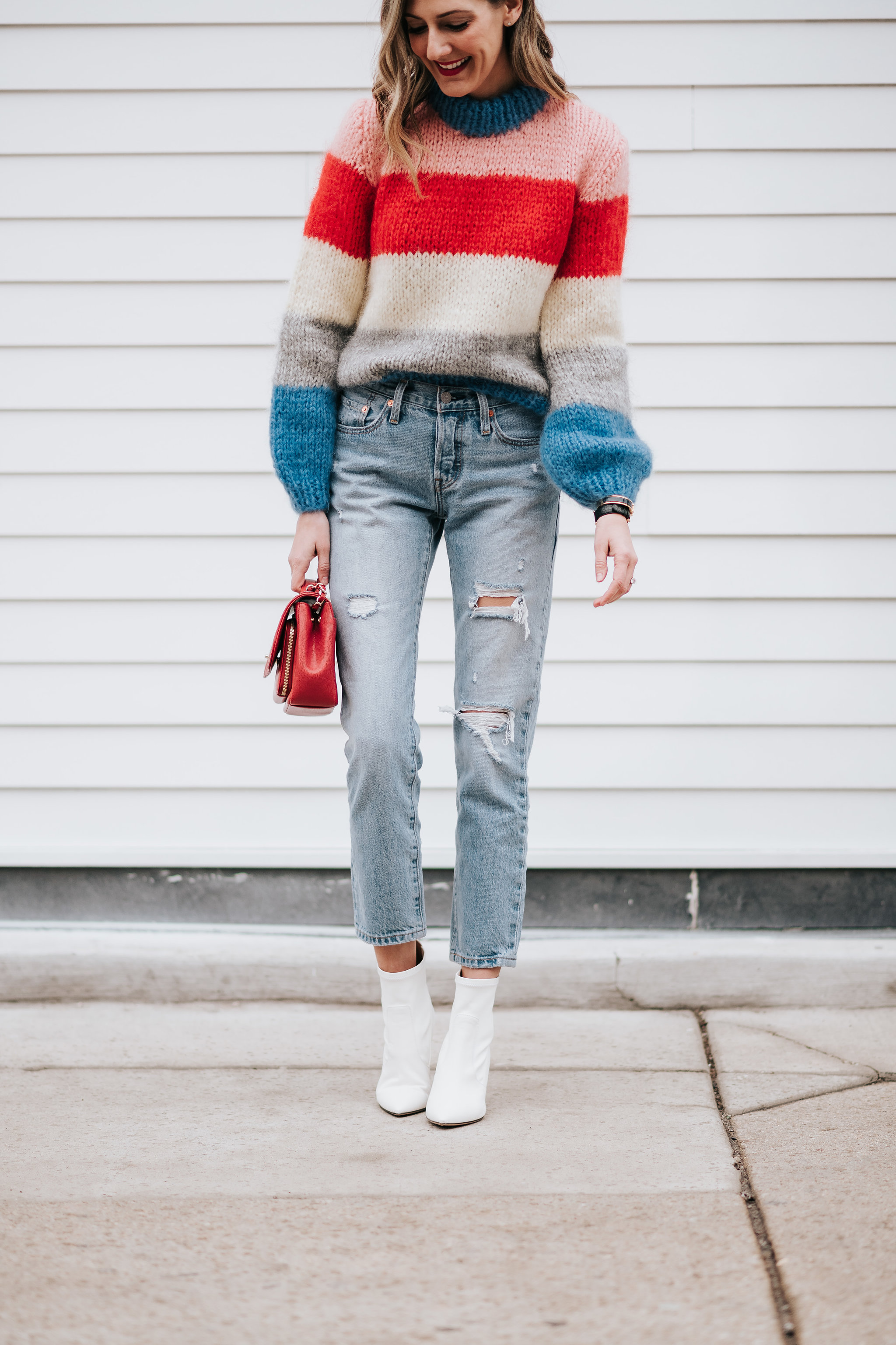 how to wear white booties levi's 501 ganni sweater