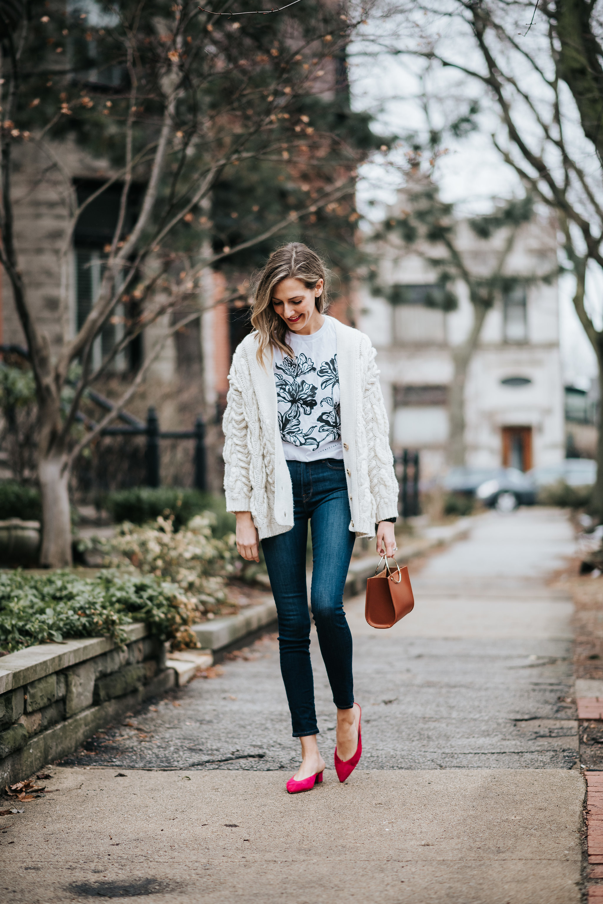 chunky knit sweater outfit graphic tee