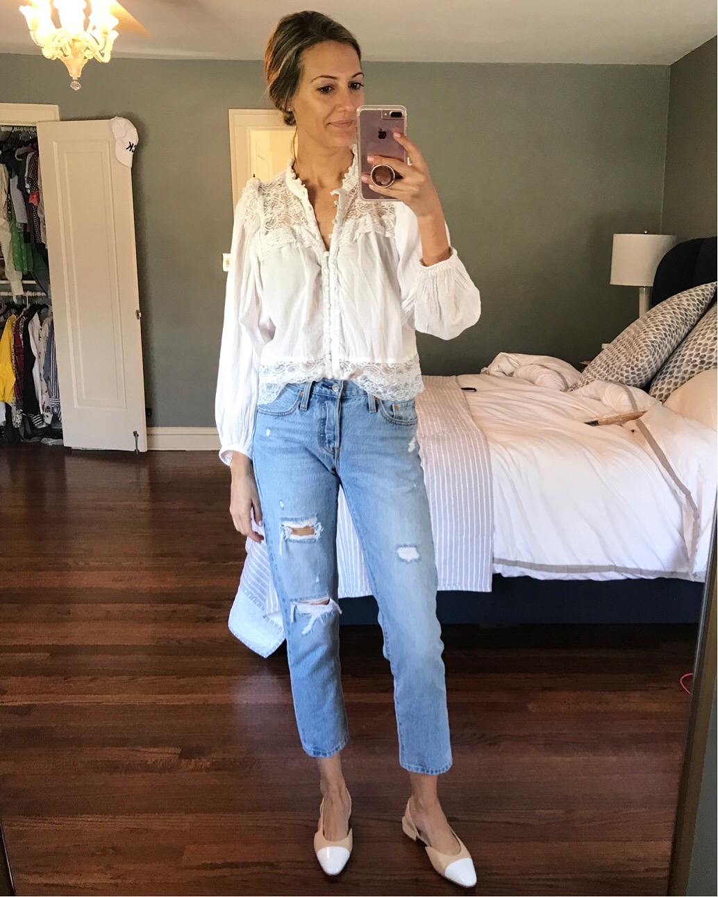 lace top jeans chanel flats