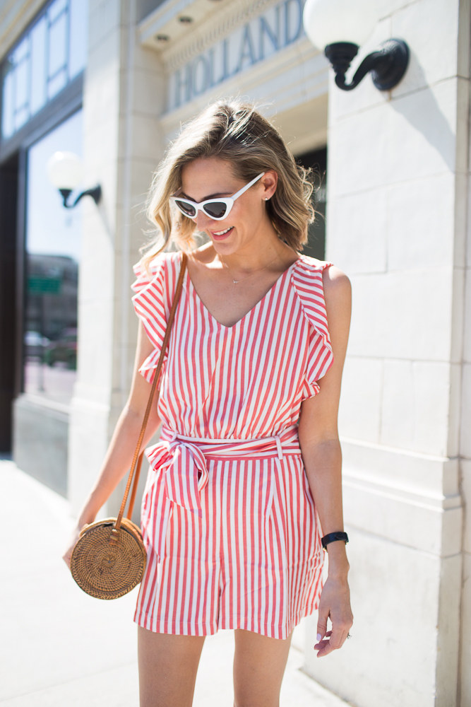 striped loft romper