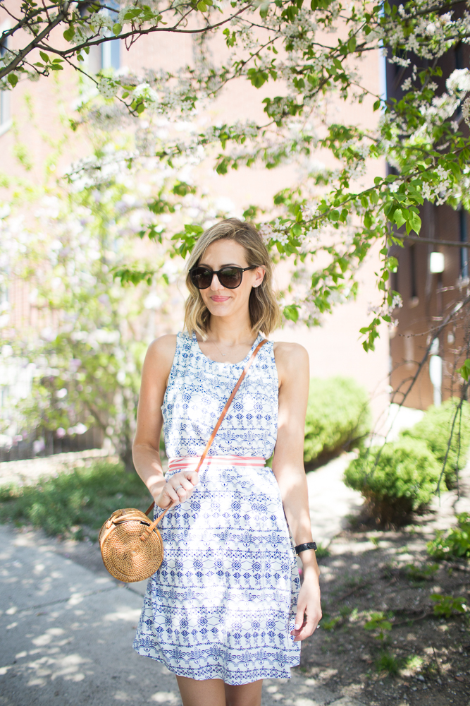 blue white preppy dress