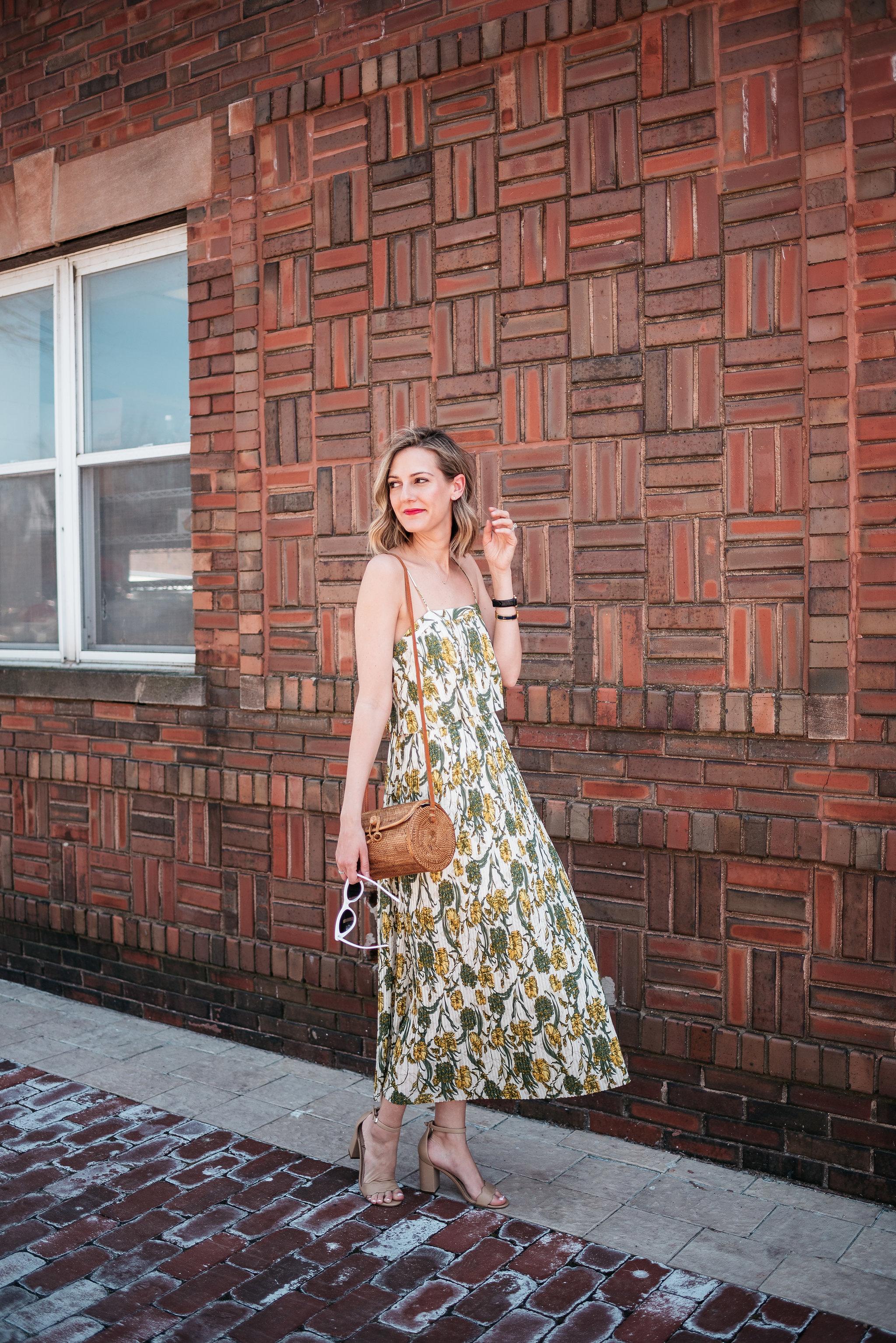 pleated maxi dress tropical print